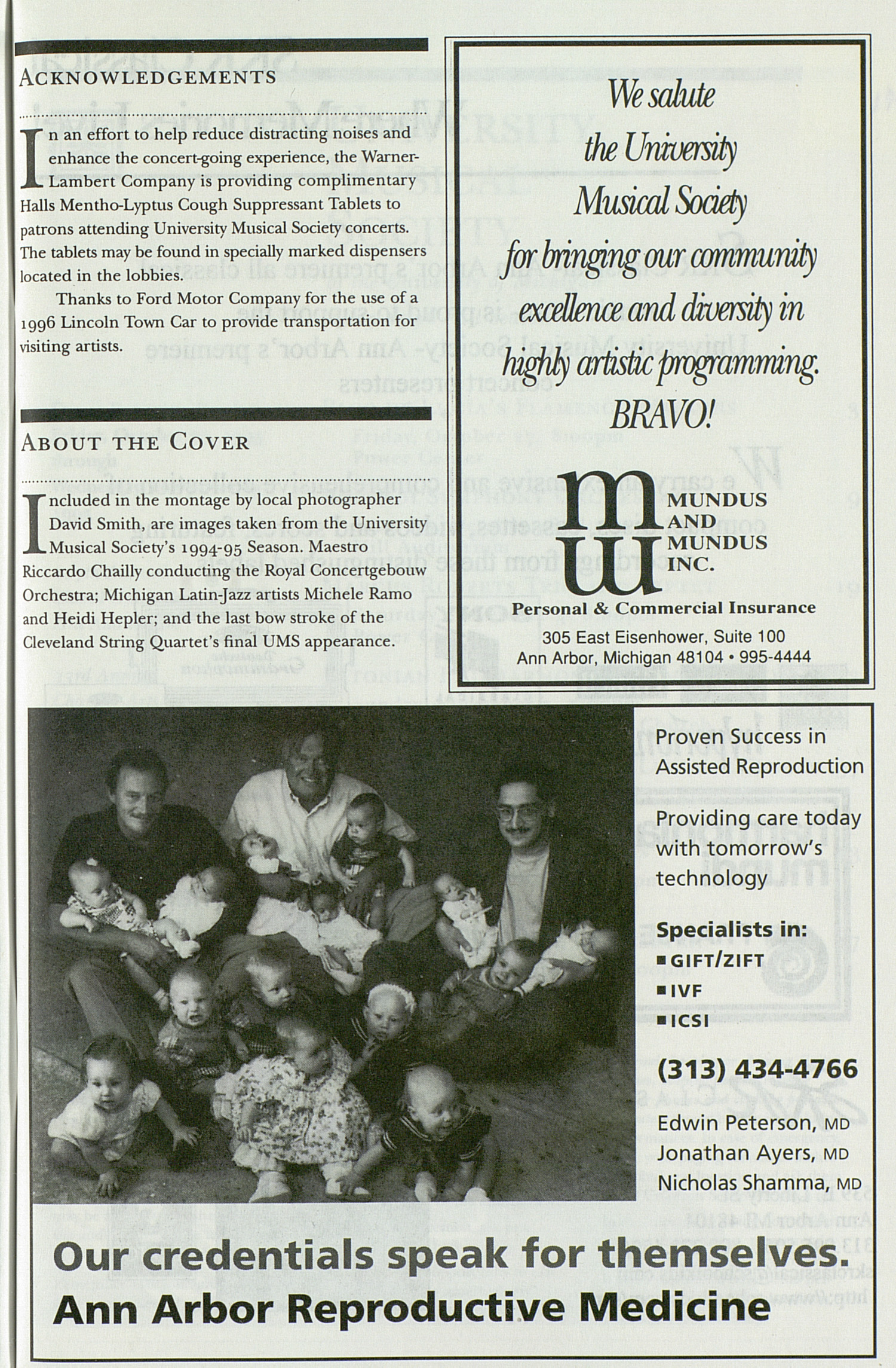 UMS Concert Program, Friday Oct. 27 To Nov. 15: University Musical Society: 1995-1996 Fall - Friday Oct. 27 To Nov. 15 --  image
