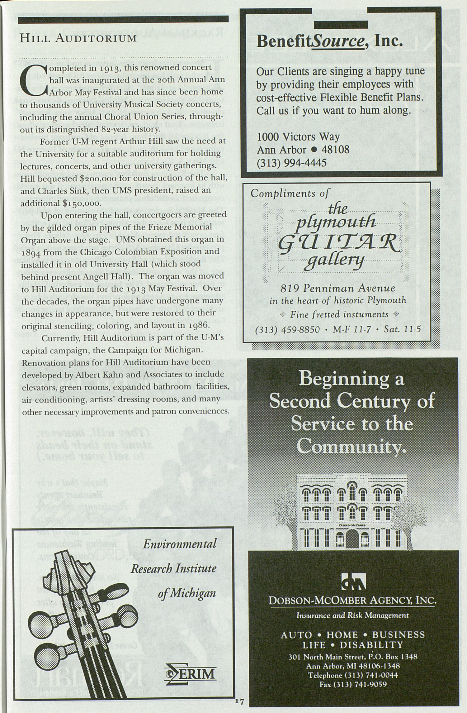 UMS Concert Program, Tuesday Mar. 19 To 26: University Musical Society: 1996 Winter - Tuesday Mar. 19 To 26 --  image