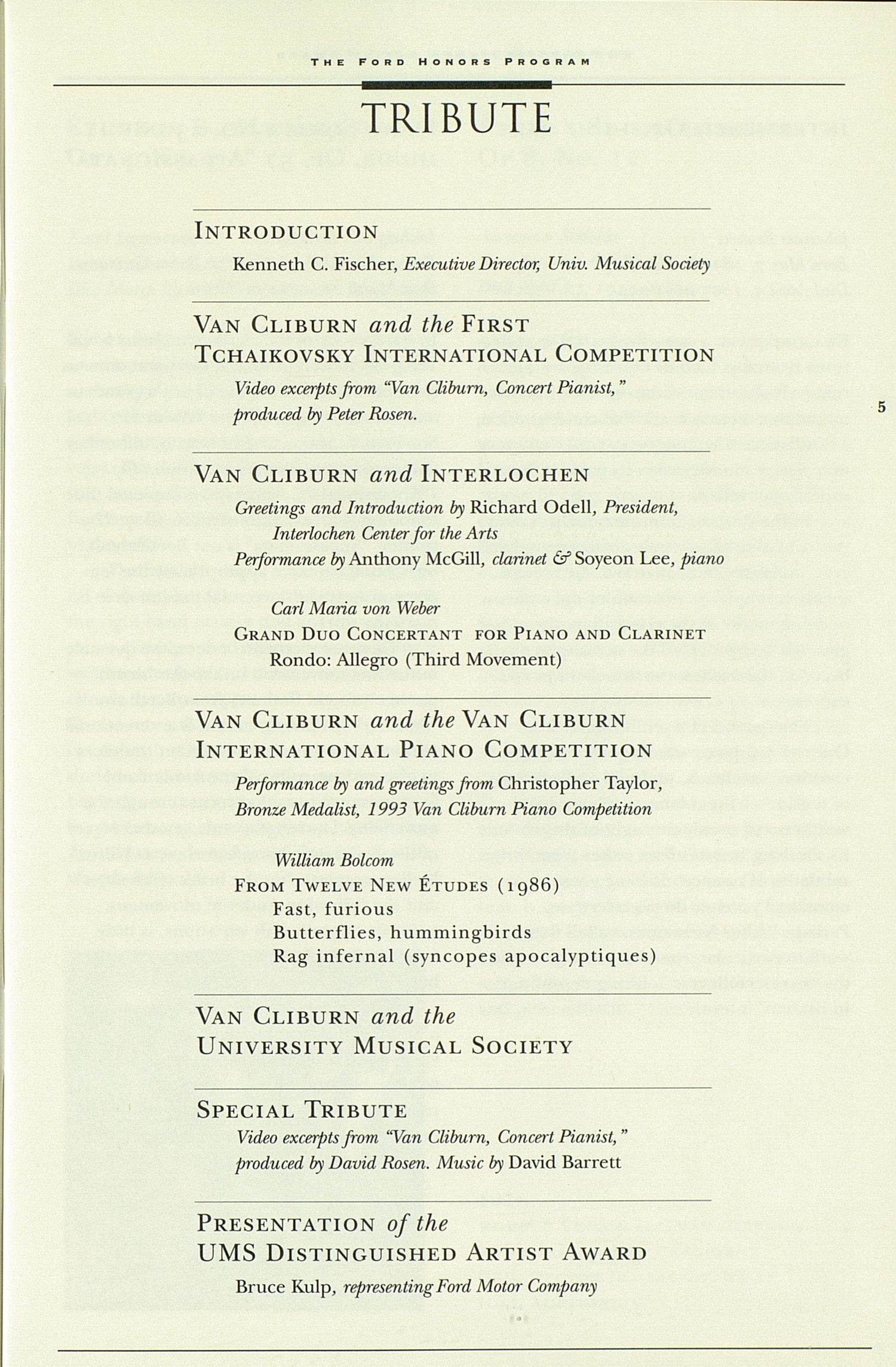 Ums Concert Program The University Musical Society Distinguished