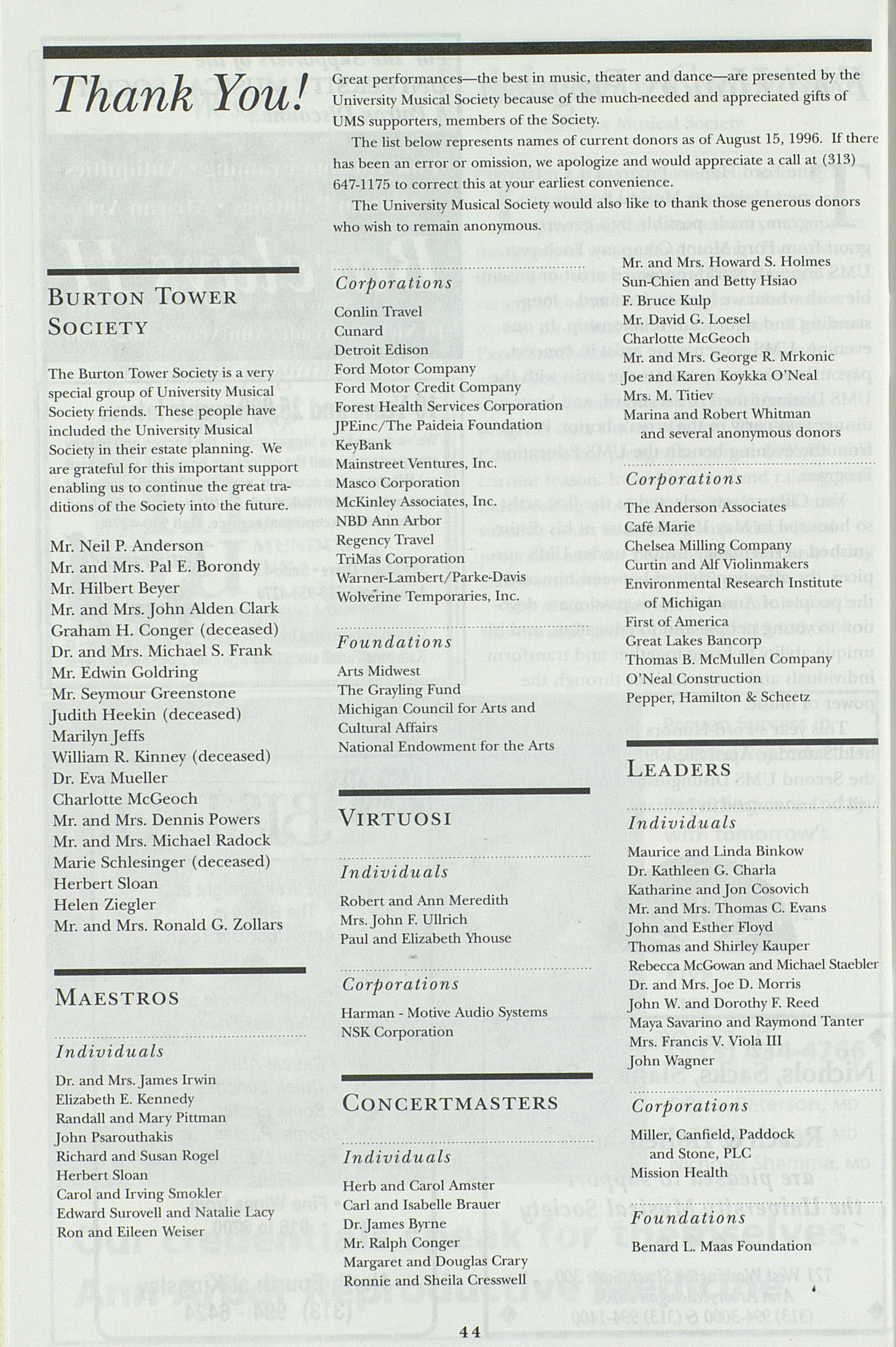 UMS Concert Program, Friday Nov. 01 To 08: University Musical Society: 1996-1997 Fall - Friday Nov. 01 To 08 --  image