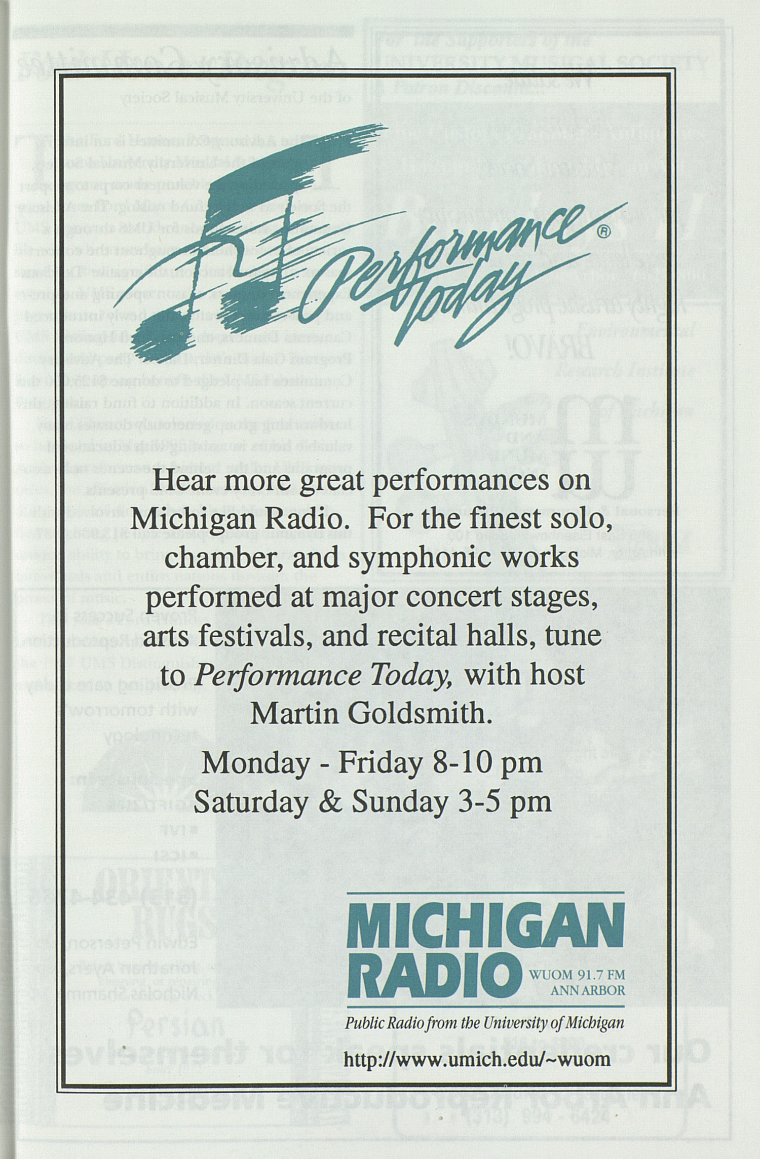 UMS Concert Program, Wednesday Jan. 08 To 23: University Musical Society: 1996-1997 Winter - Wednesday Jan. 08 To 23 --  image