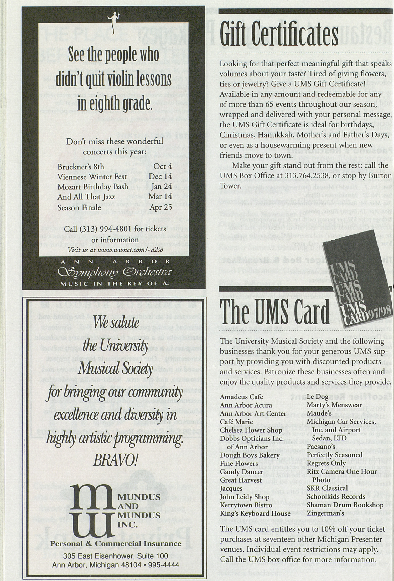 UMS Concert Program, Saturday Oct. 25 To Nov. 08: University Musical Society: 1997-1998 Fall - Saturday Oct. 25 To Nov. 08 --  image