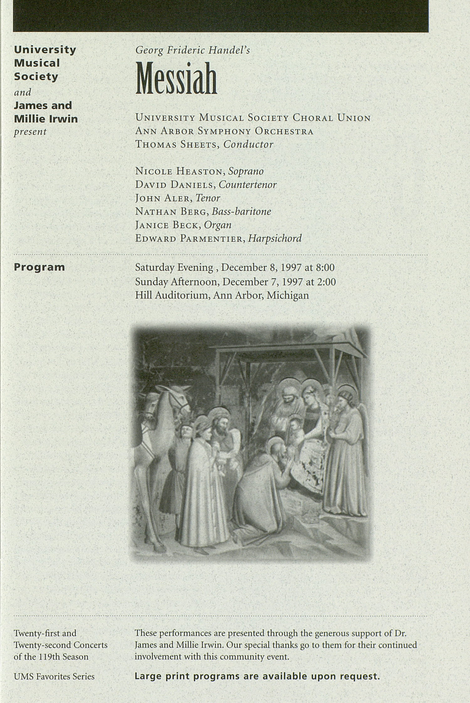 UMS Concert Program, Tuesday Dec. 02 To 14: University Musical Society: 1997-1998 Fall - Tuesday Dec. 02 To 14 --  image