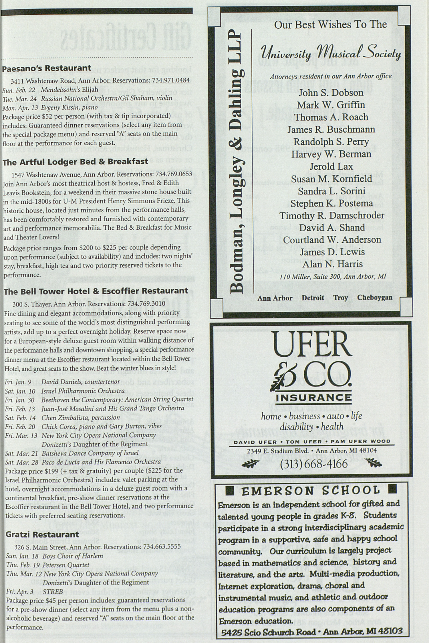 UMS Concert Program, Friday Apr. 03 To 13: University Musical Society: 1997-1998 Winter - Friday Apr. 03 To 13 --  image