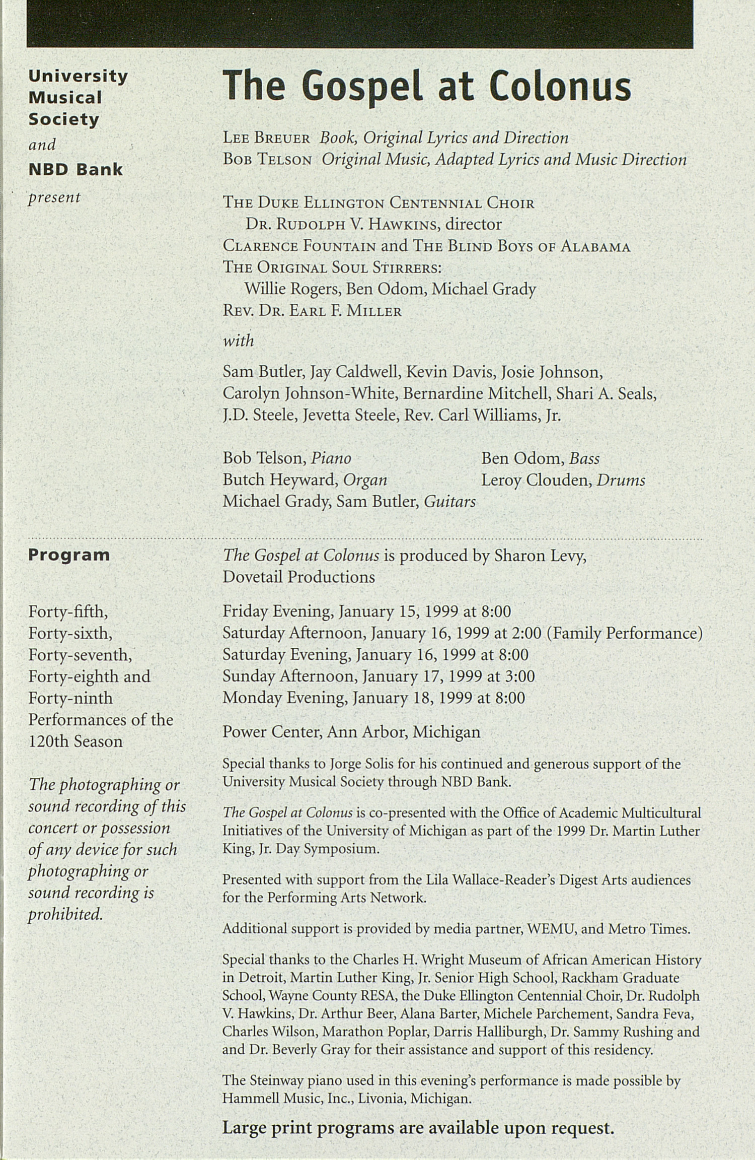UMS Concert Program, Thursday Jan. 14 To 28: University Musical Society: 1998-1999 Winter - Thursday Jan. 14 To 28 --  image