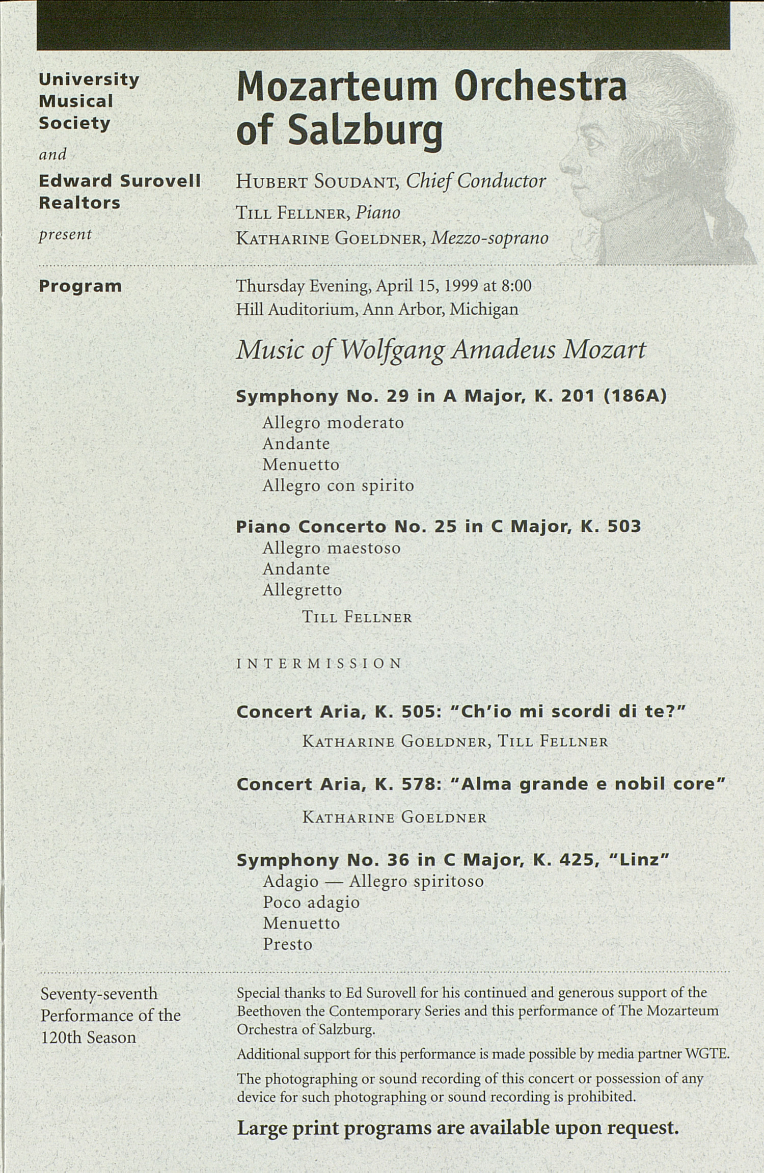 UMS Concert Program, Saturday Apr. 10 To 18: University Musical Society: 1998-1999 Winter - Saturday Apr. 10 To 18 --  image