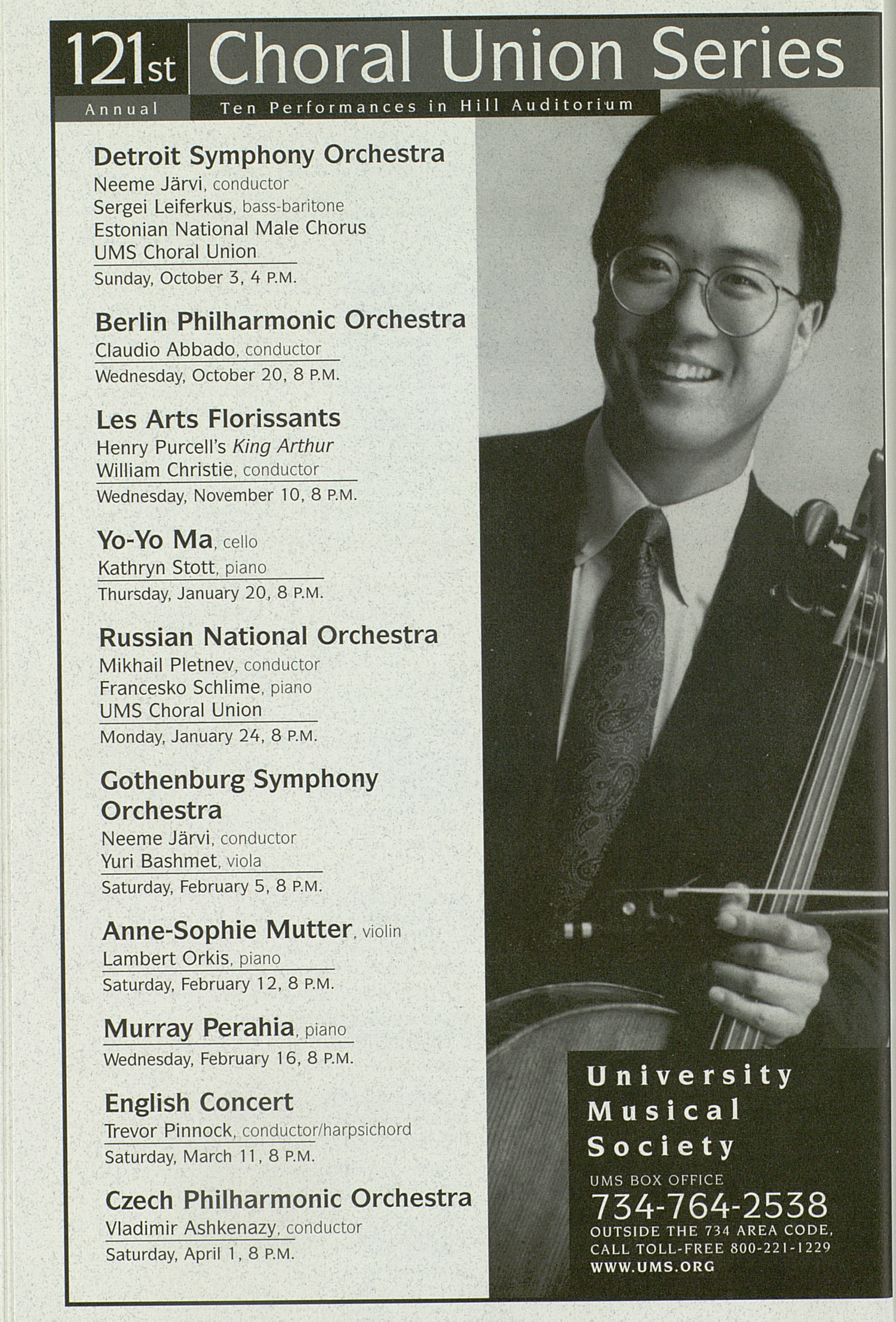 UMS Concert Program, Thursday Apr. 22 To 25: University Musical Society: 1998-1999 Winter - Thursday Apr. 22 To 25 --  image