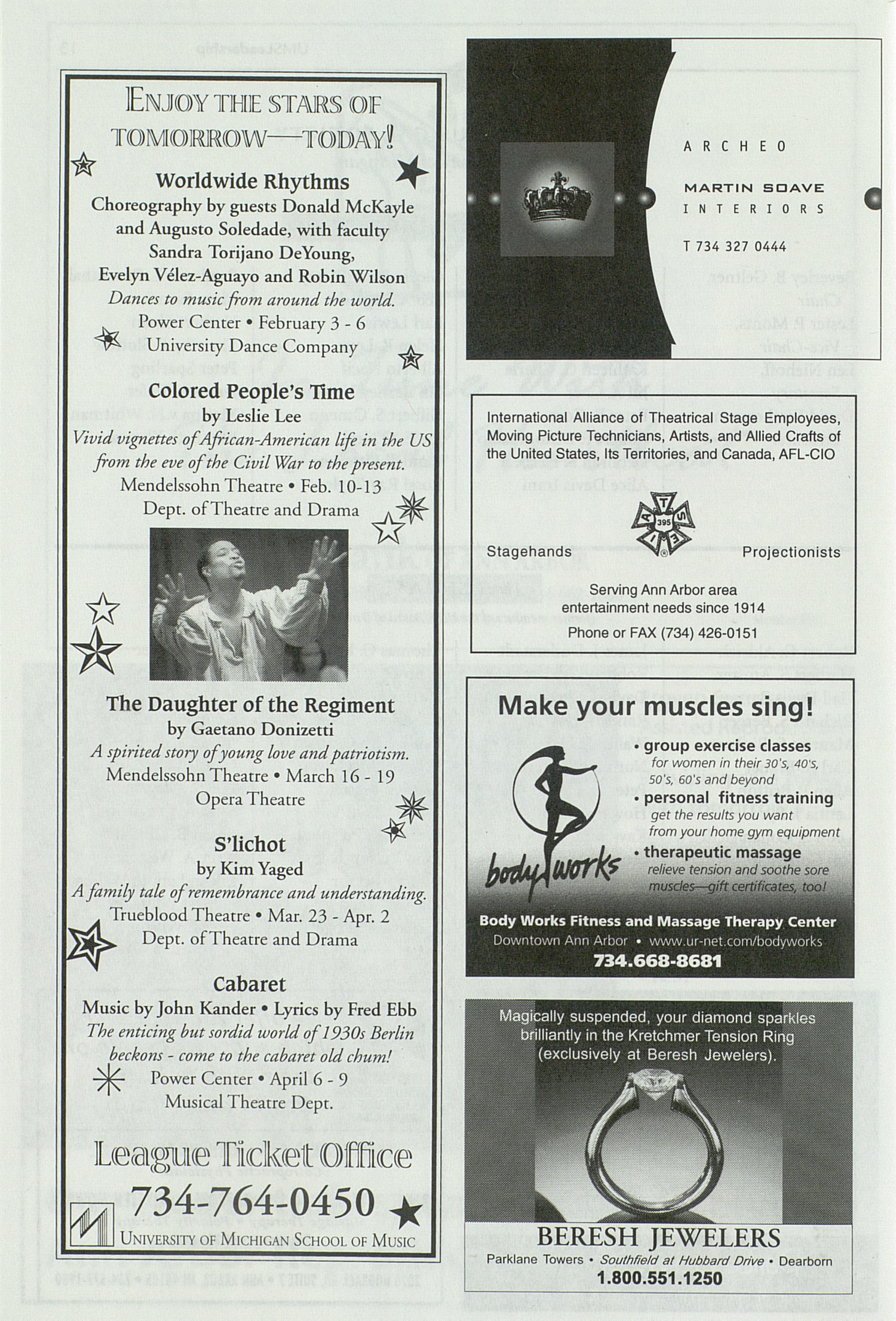UMS Concert Program, Saturday Feb. 12 To 20: University Musical Society: 1999-2000 Winter - Saturday Feb. 12 To 20 --  image