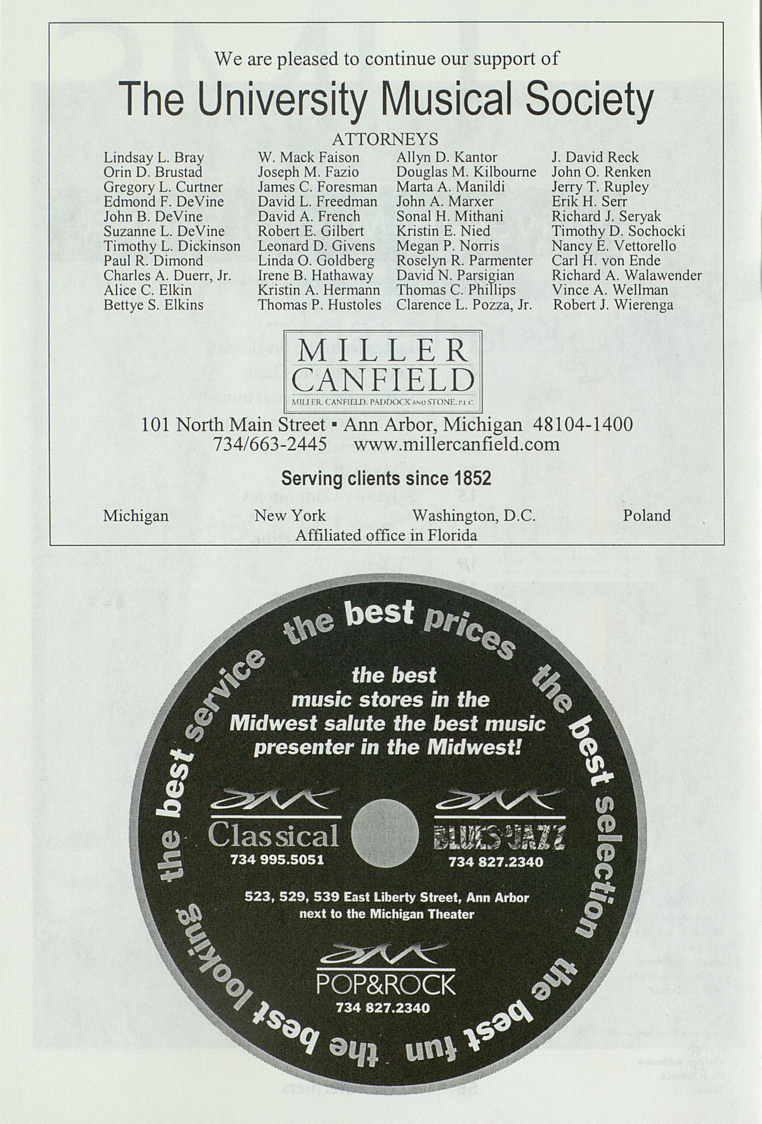 UMS Concert Program, Sunday Mar. 19 To 24: University Musical Society: 1999-2000 Winter - Sunday Mar. 19 To 24 --  image