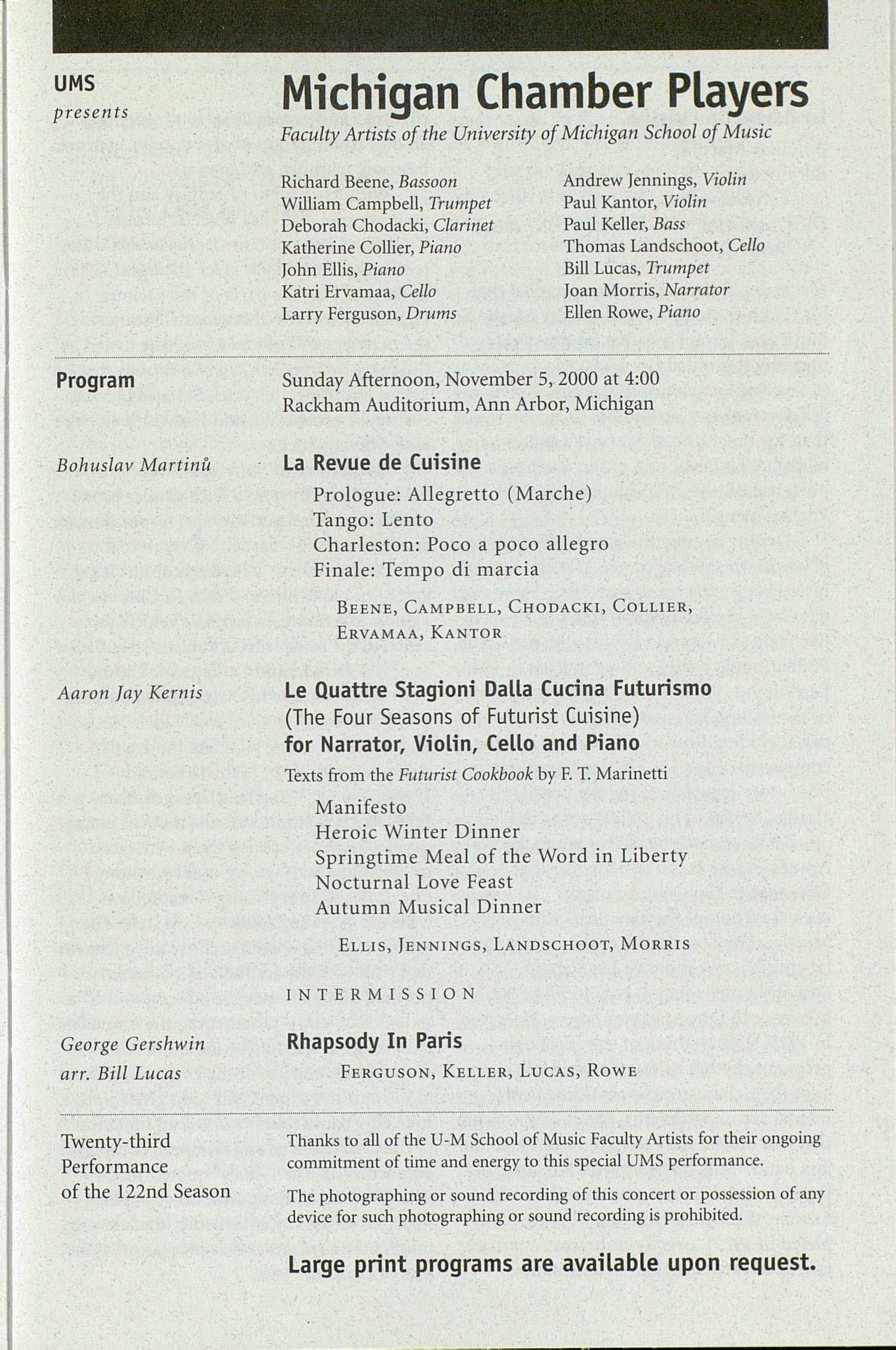 UMS Concert Program, Friday Nov. 03 To 09: University Musical Society: Fall 2000 - Friday Nov. 03 To 09 --  image