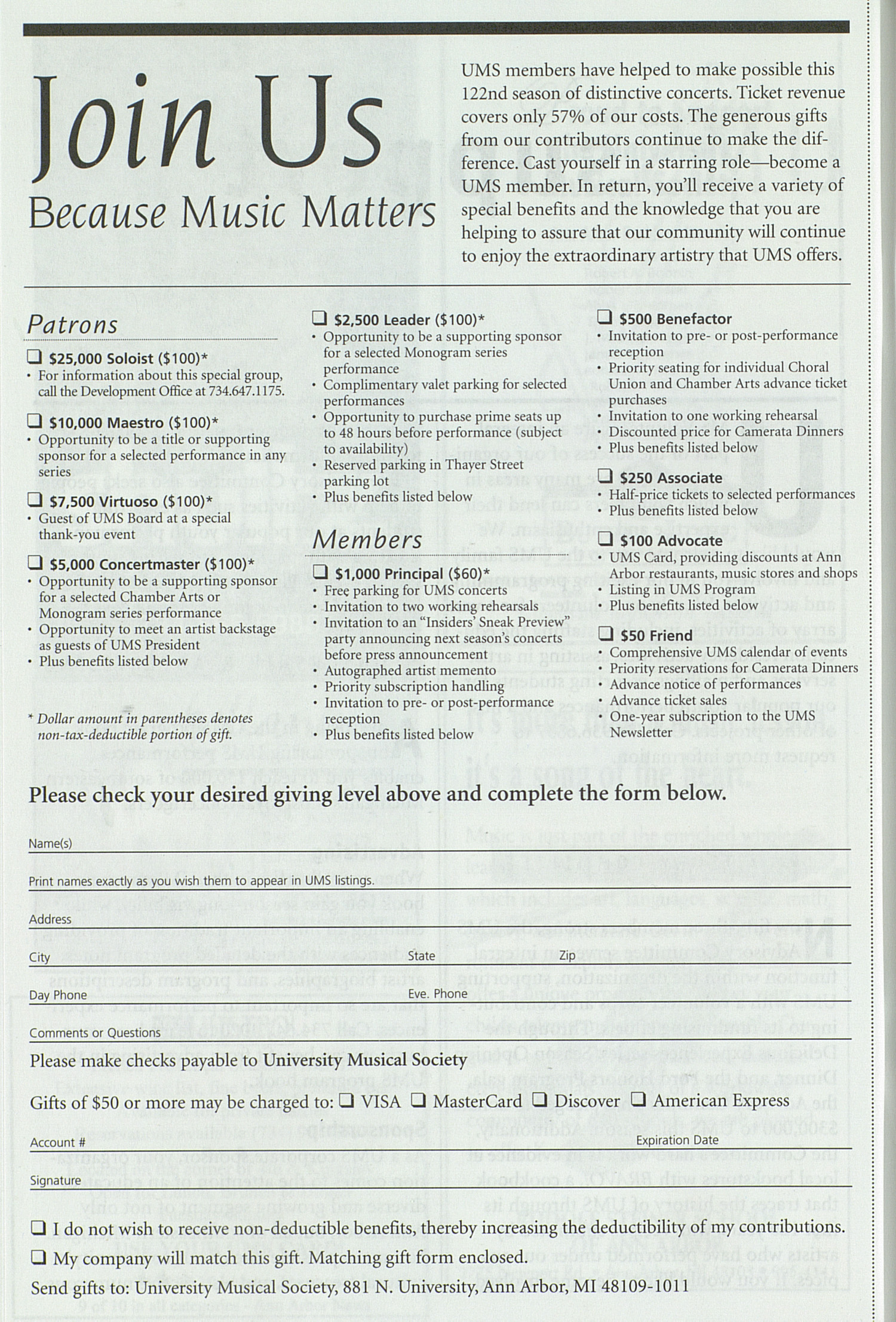 UMS Concert Program, Saturday Dec. 02 To 16: University Musical Society: Fall 2000 - Saturday Dec. 02 To 16 --  image