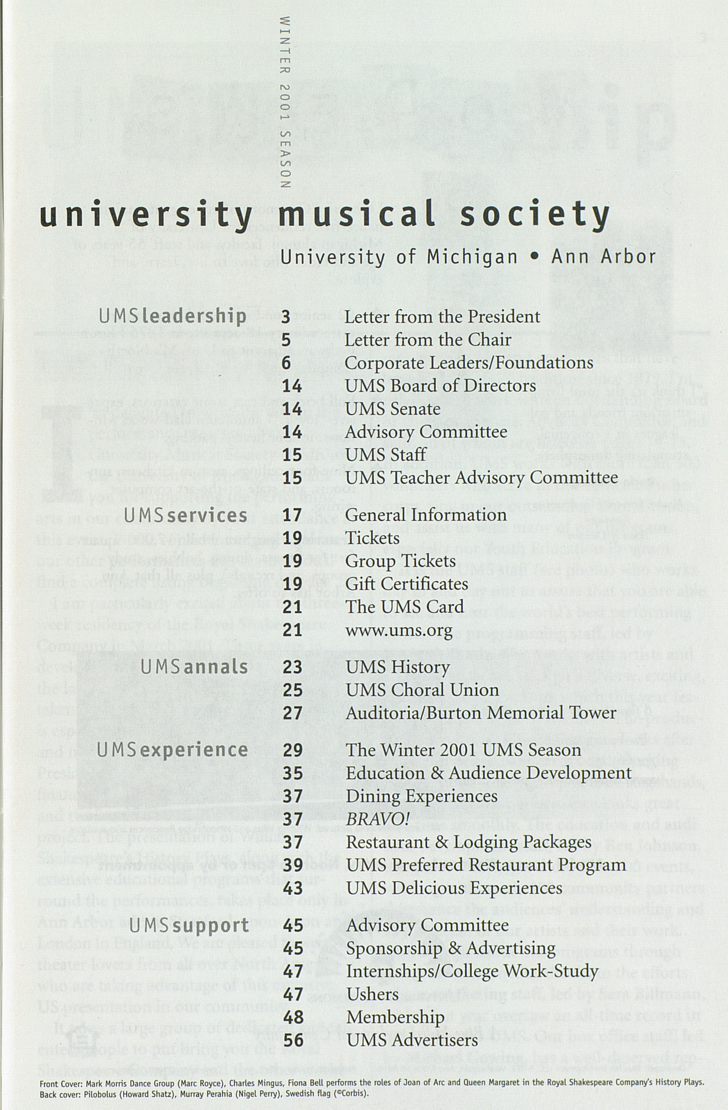 UMS Concert Program, Friday Feb. 02 To 14: University Musical Society: Winter 2001 - Friday Feb. 02 To 14 --  image