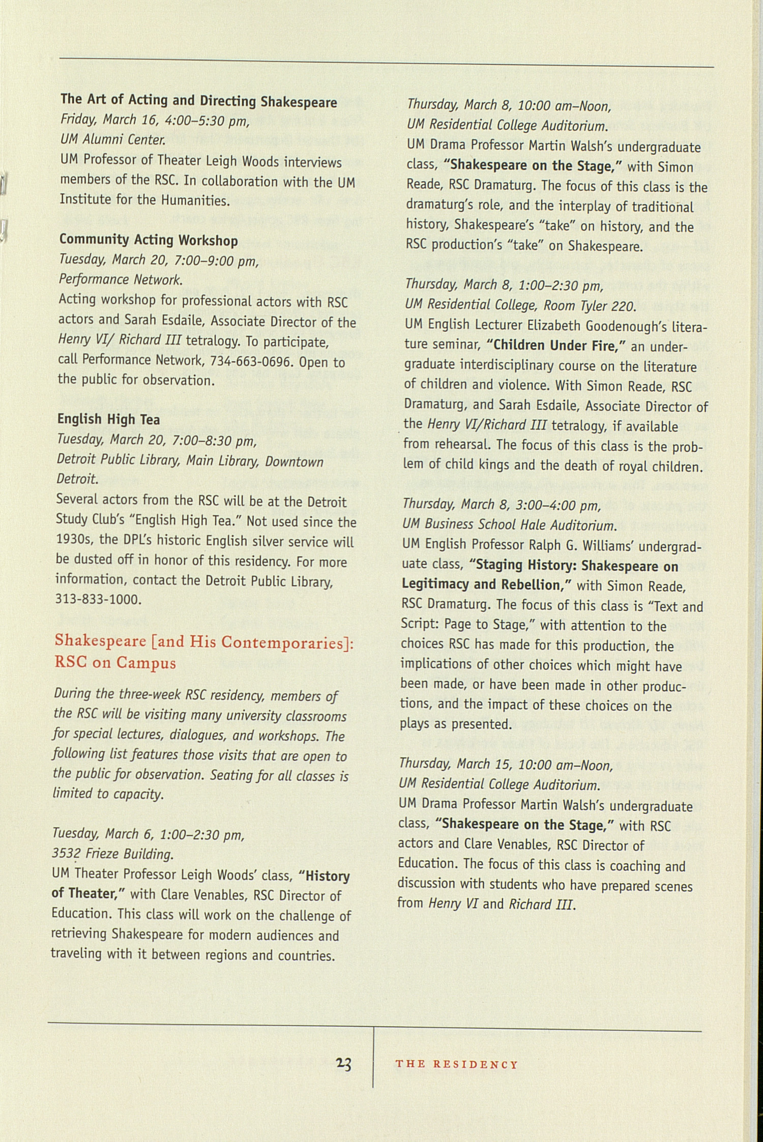 UMS Concert Program, March 10-18, 2001: Royal Shakespeare Company --  image