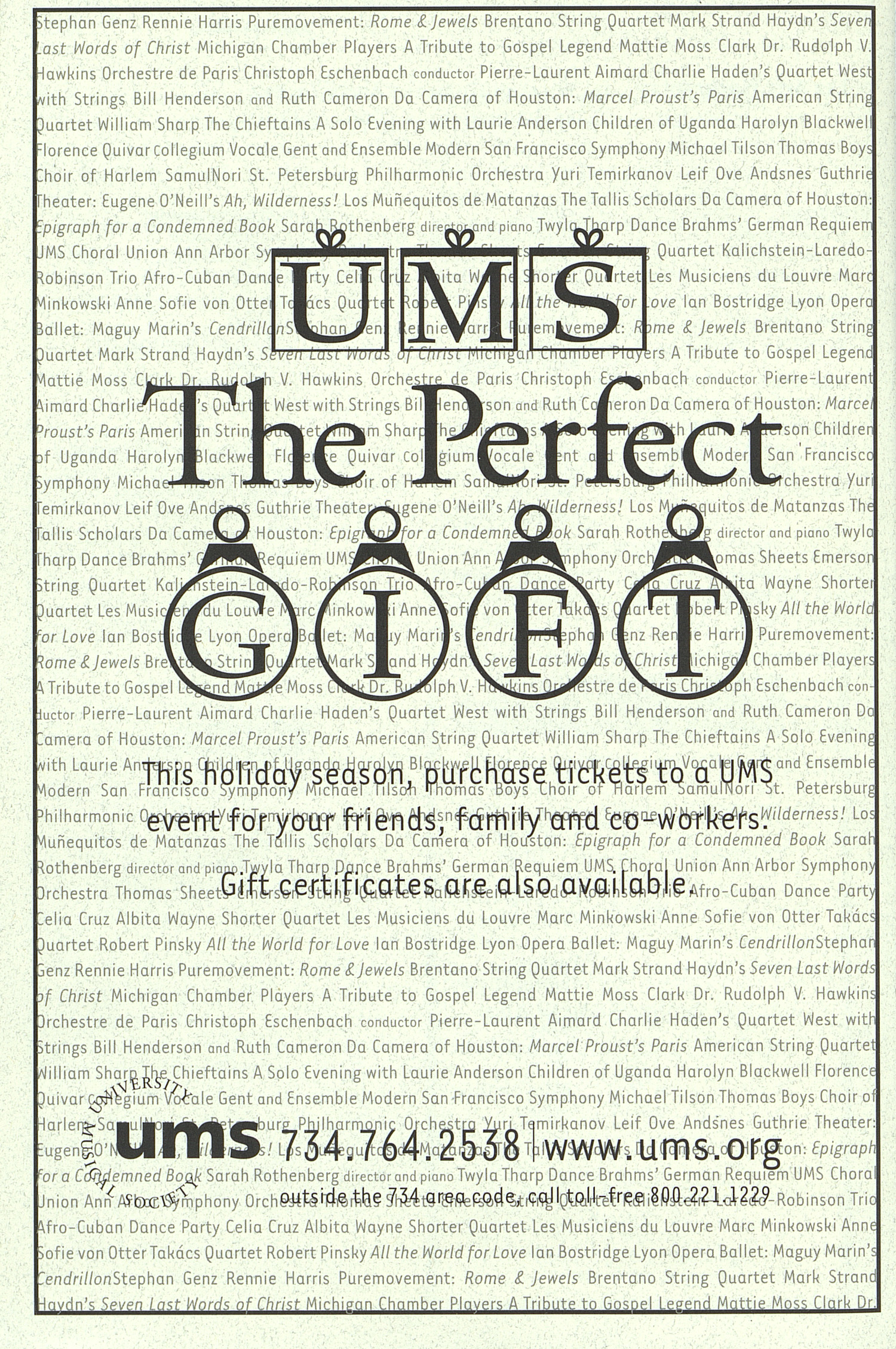 UMS Concert Program, Saturday Dec. 01 To 13: University Musical Society: 2001 Fall - Saturday Dec. 01 To 13 --  image