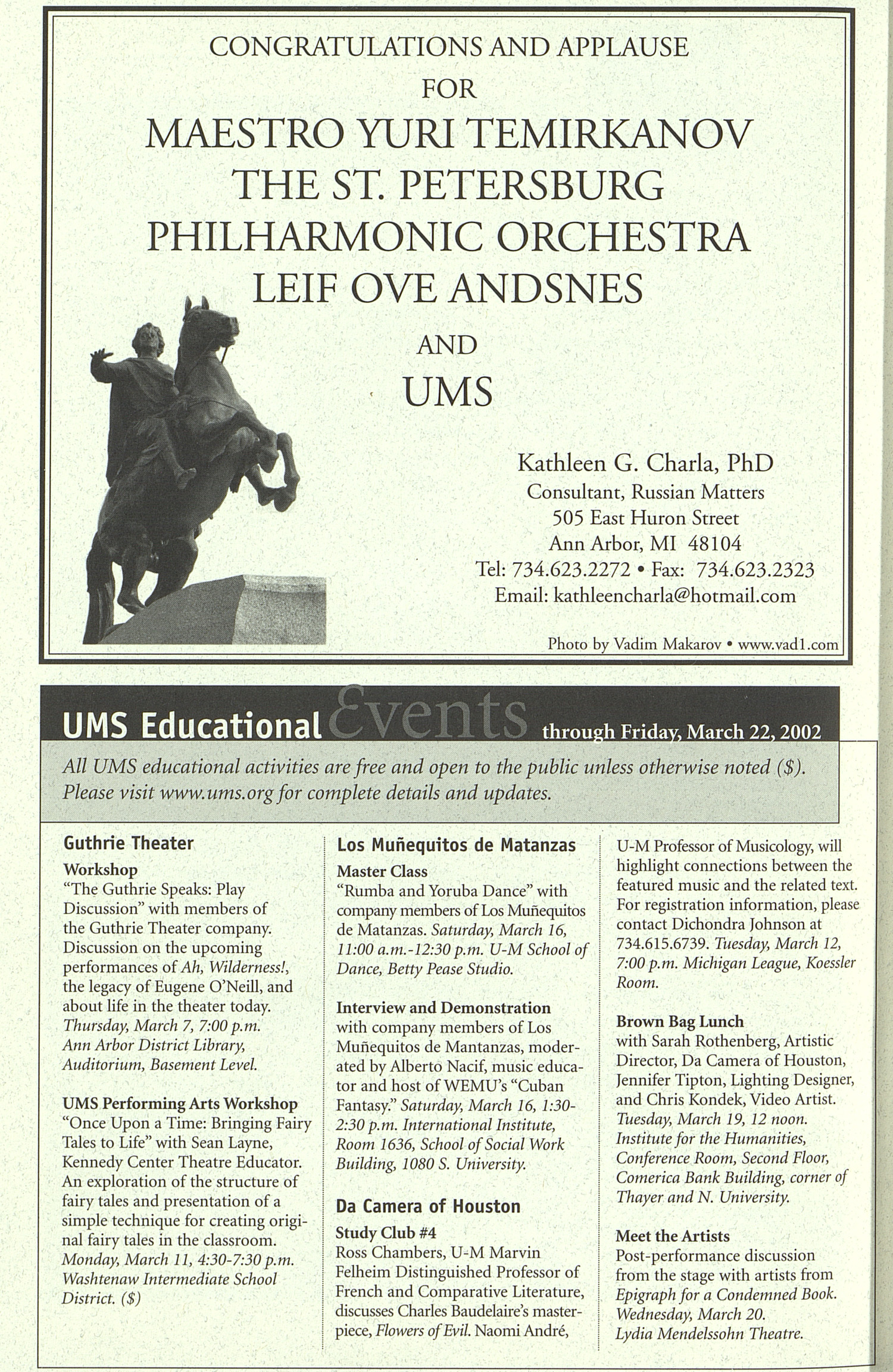 UMS Concert Program, Tuesday Mar. 05 To 20: University Musical Society: 2002 Winter - Tuesday Mar. 05 To 20 --  image