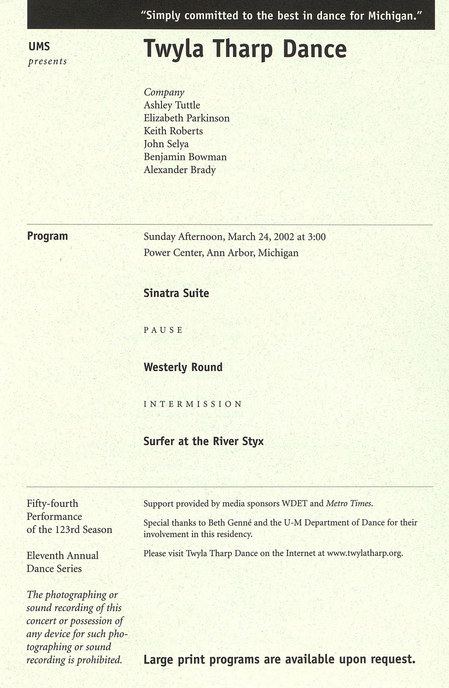 UMS Concert Program, Saturday Mar. 23 To Apr. 11: University Musical Society: 2002 Winter - Saturday Mar. 23 To Apr. 11 --  image