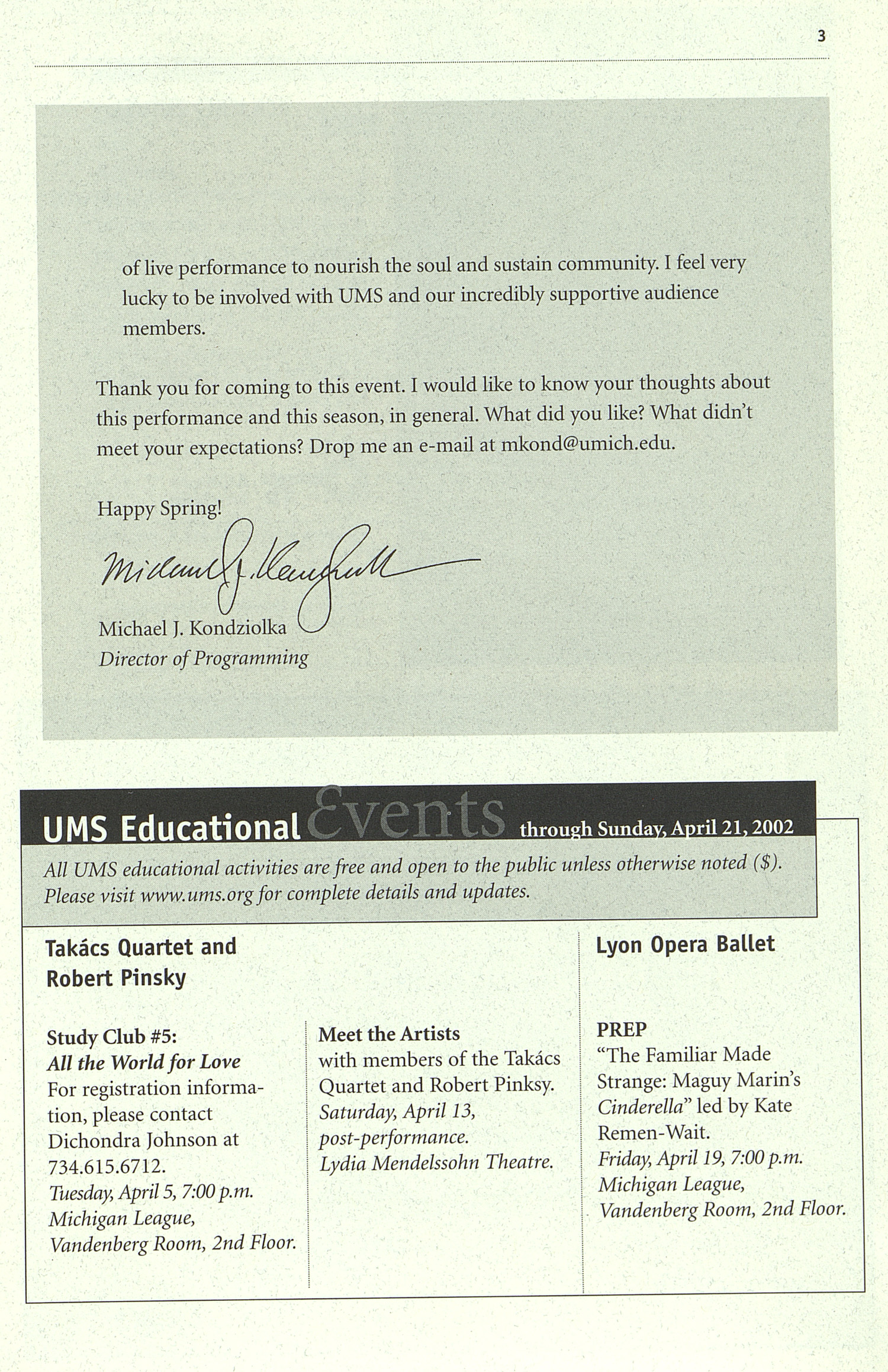 UMS Concert Program, Friday, Apr. 12 To 21: University Musical Society: 2002 Winter - Friday, Apr. 12 To 21 --  image
