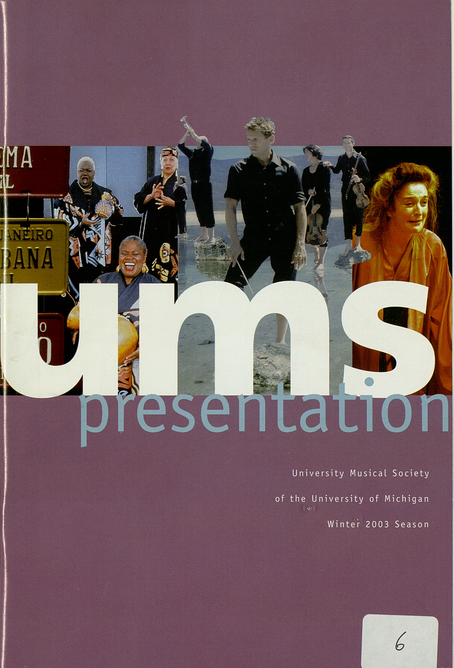 UMS Concert Program, Friday Jan. 10 To 20: University Musical Society: 2003 Winter - Friday Jan. 10 To 20 --  image