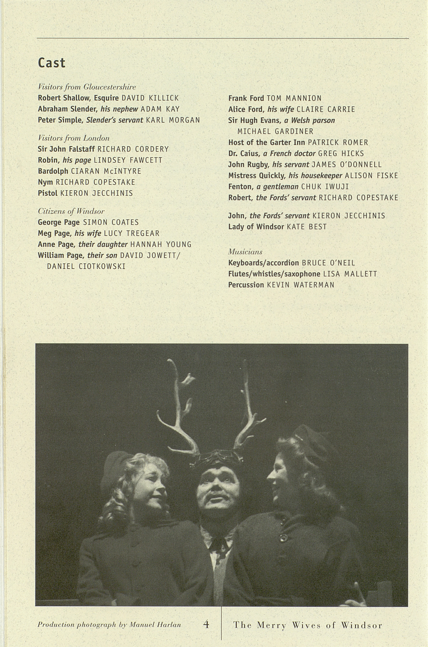 UMS Concert Program, March 1-16, 2003: Royal Shakespeare Company --  image