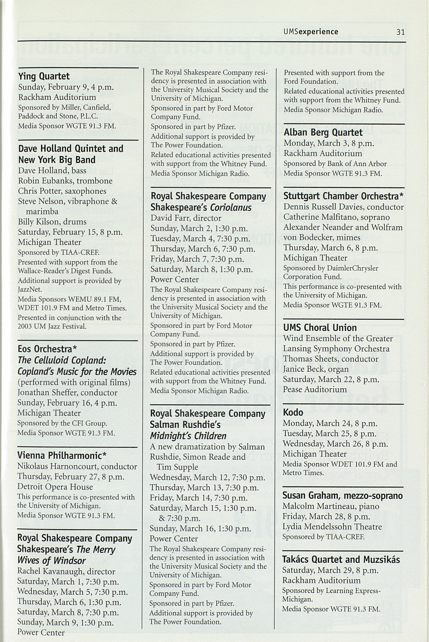 UMS Concert Program, Wednesday Apr. 09 To May 01: University Musical Society: Winter 2003 - Wednesday Apr. 09 To May 01 --  image