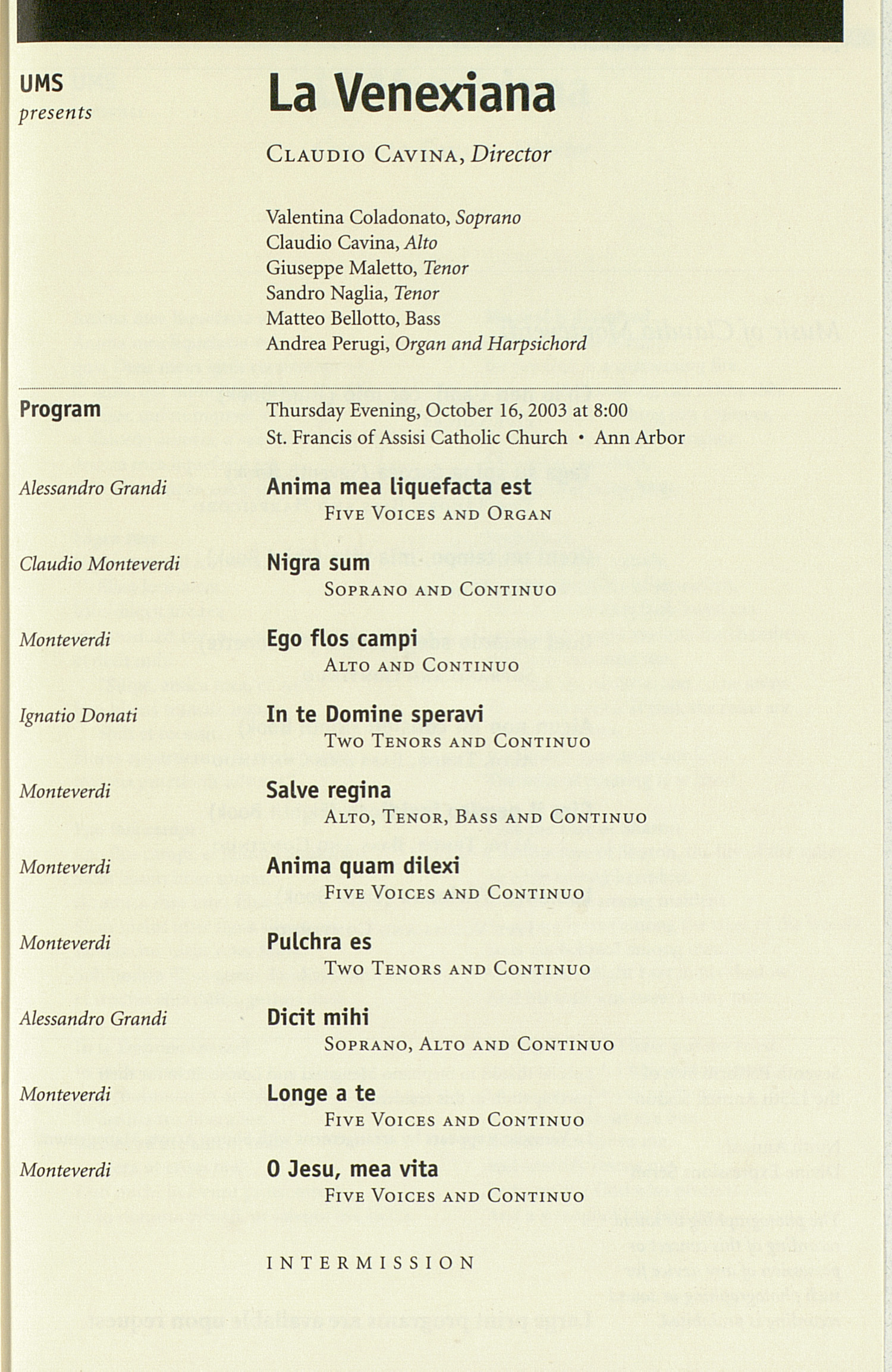 UMS Concert Program, Friday Oct. 03 To Oct 17: University Musical Society: Fall 2003 - Friday Oct. 03 To Oct 17 --  image