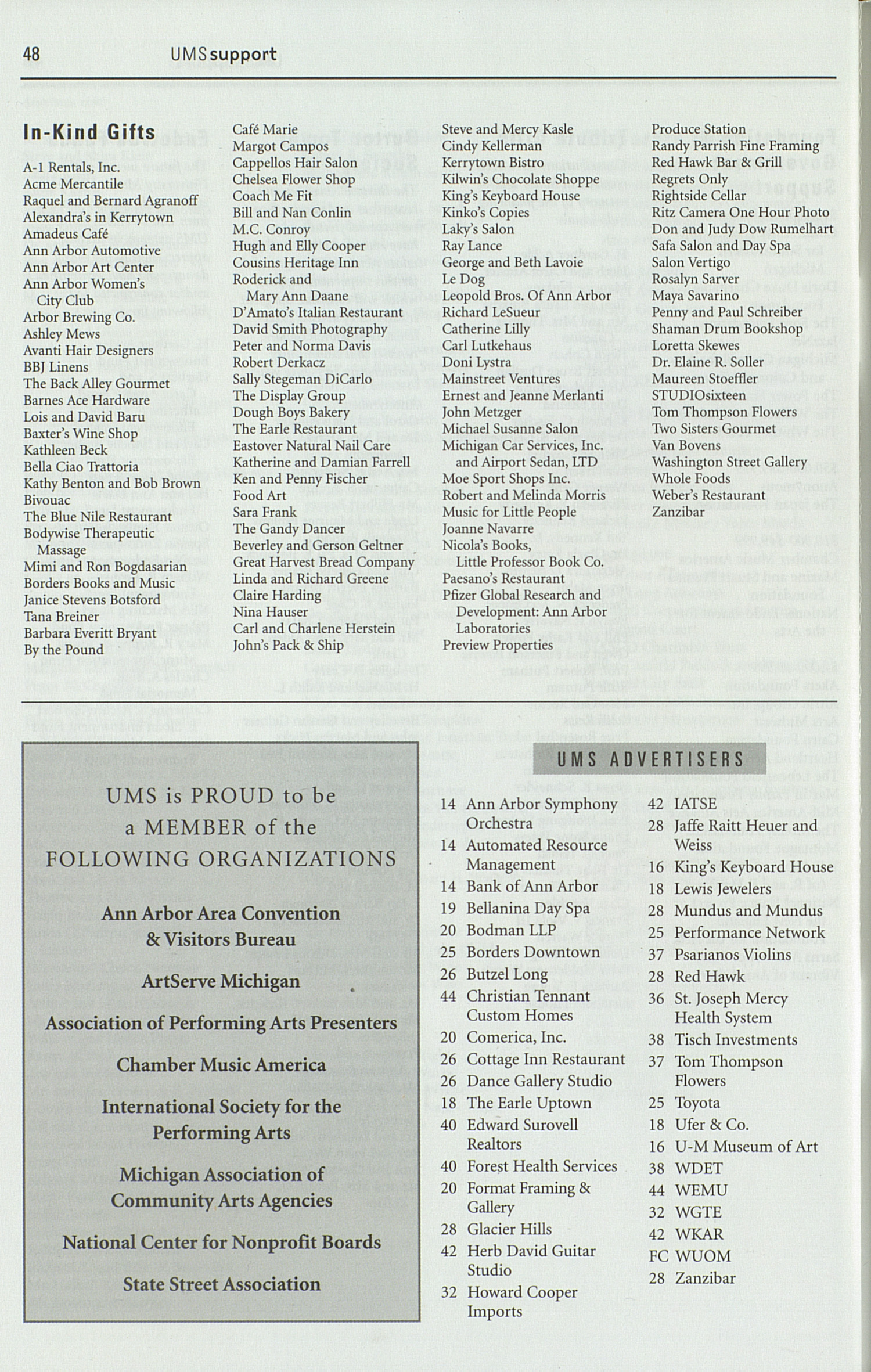 UMS Concert Program, Friday Sep. 17 To 26: University Musical Society: Fall 2004 - Friday Sep. 17 To 26 --  image