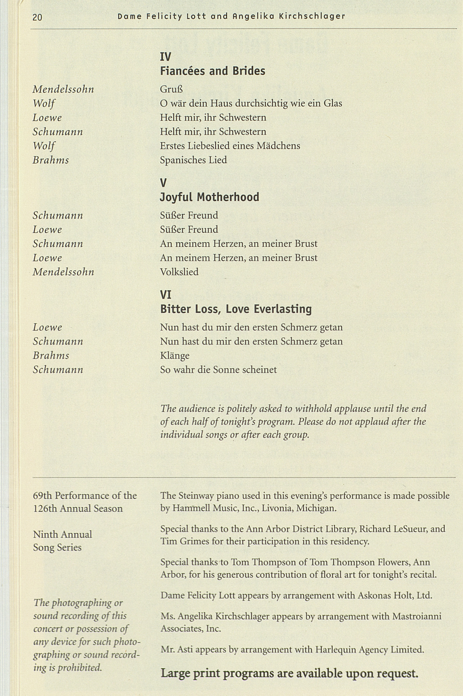UMS Concert Program, : University Musical Society: Winter 2005 - Wednesday Apr. 13 To 28 --  image