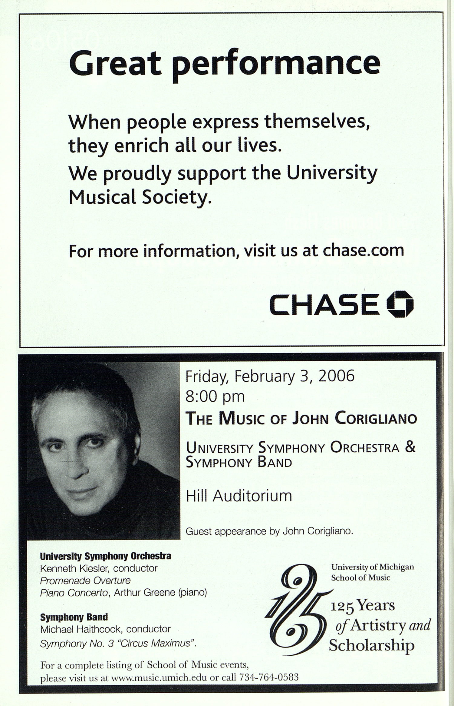 UMS Concert Program, Friday Jan. 13 To 19: University Musical Society: Winter 06 - Friday Jan. 13 To 19 --  image