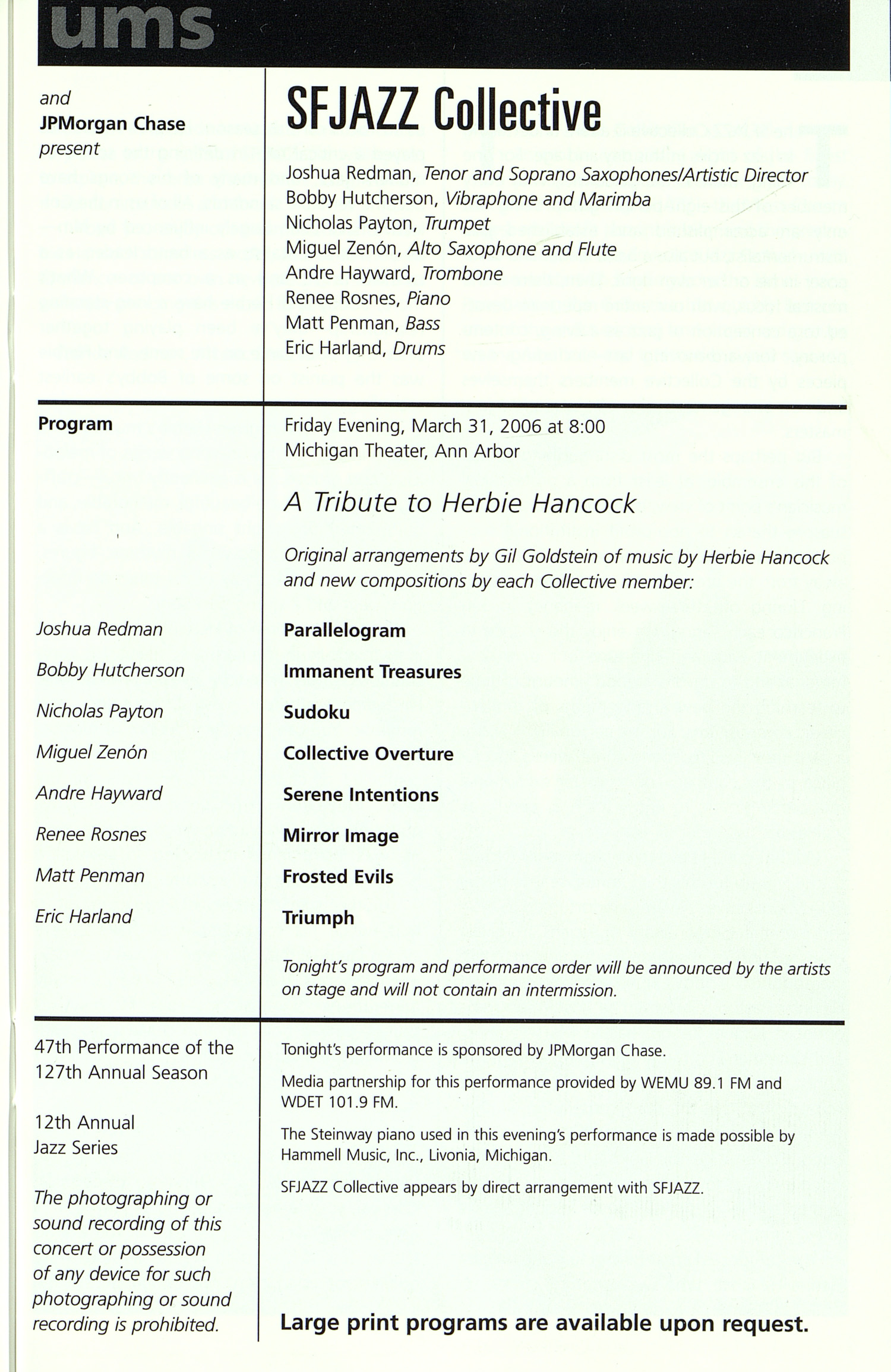 UMS Concert Program, Friday Mar. 31 To Apr. 15: University Musical Society: Winter 2006 - Friday Mar. 31 To Apr. 15 --  image