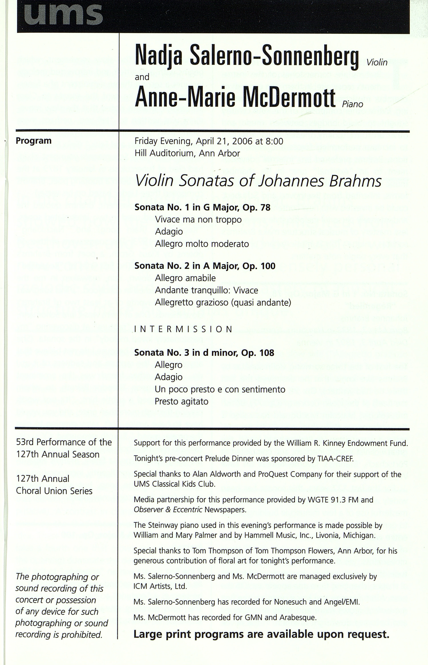 UMS Concert Program, Tuesday Apr. 18 To 22: University Musical Society: Winter 2006 - Tuesday Apr. 18 To 22 --  image