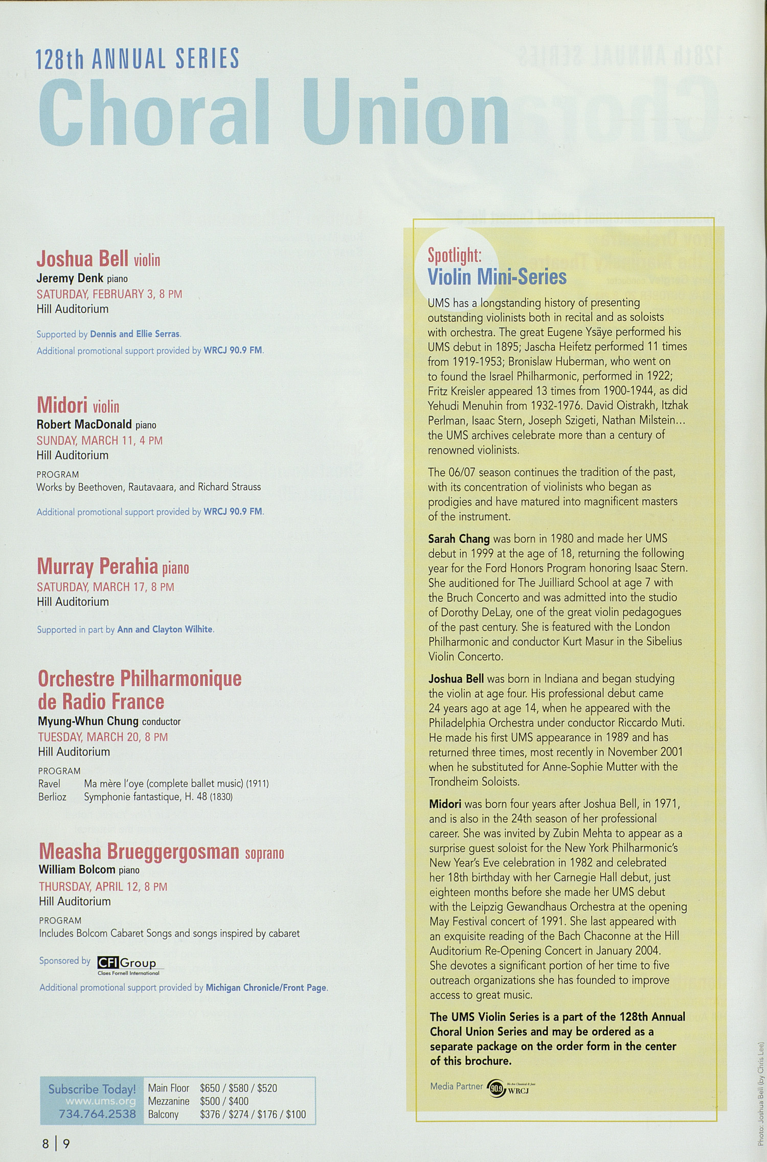 UMS Concert Program, : University Musical Society: 2006/2007 --  image