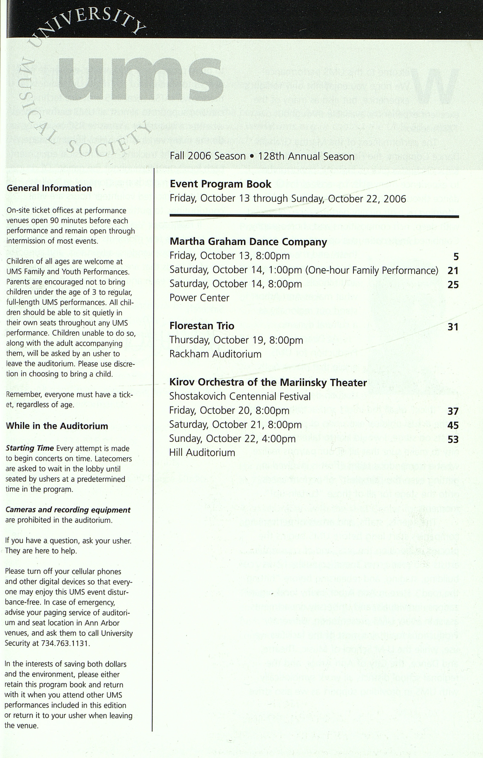 UMS Concert Program, Friday, Oct. 13 To Oct. 22: University Musical Society: Fall 2006 - Friday, Oct. 13 To Oct. 22 image