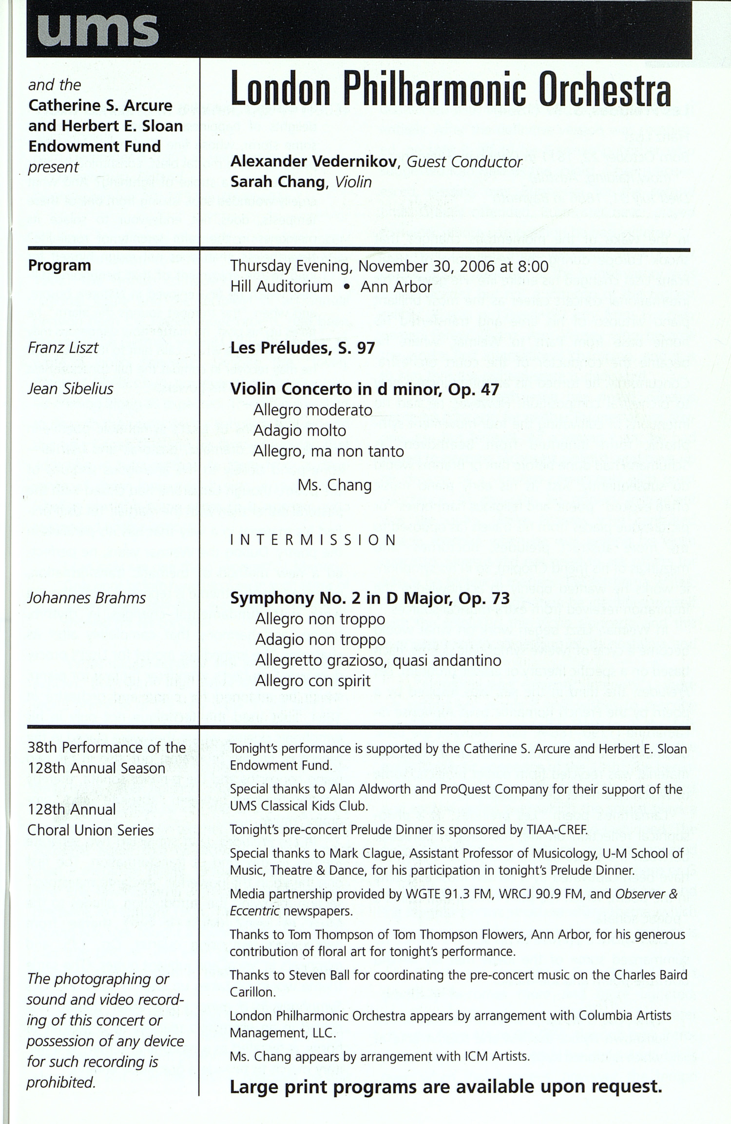 UMS Concert Program, Thursday Nov. 30 To Dec. 10: University Musical Society: Fall 2006 - Thursday Nov. 30 To Dec. 10 --  image