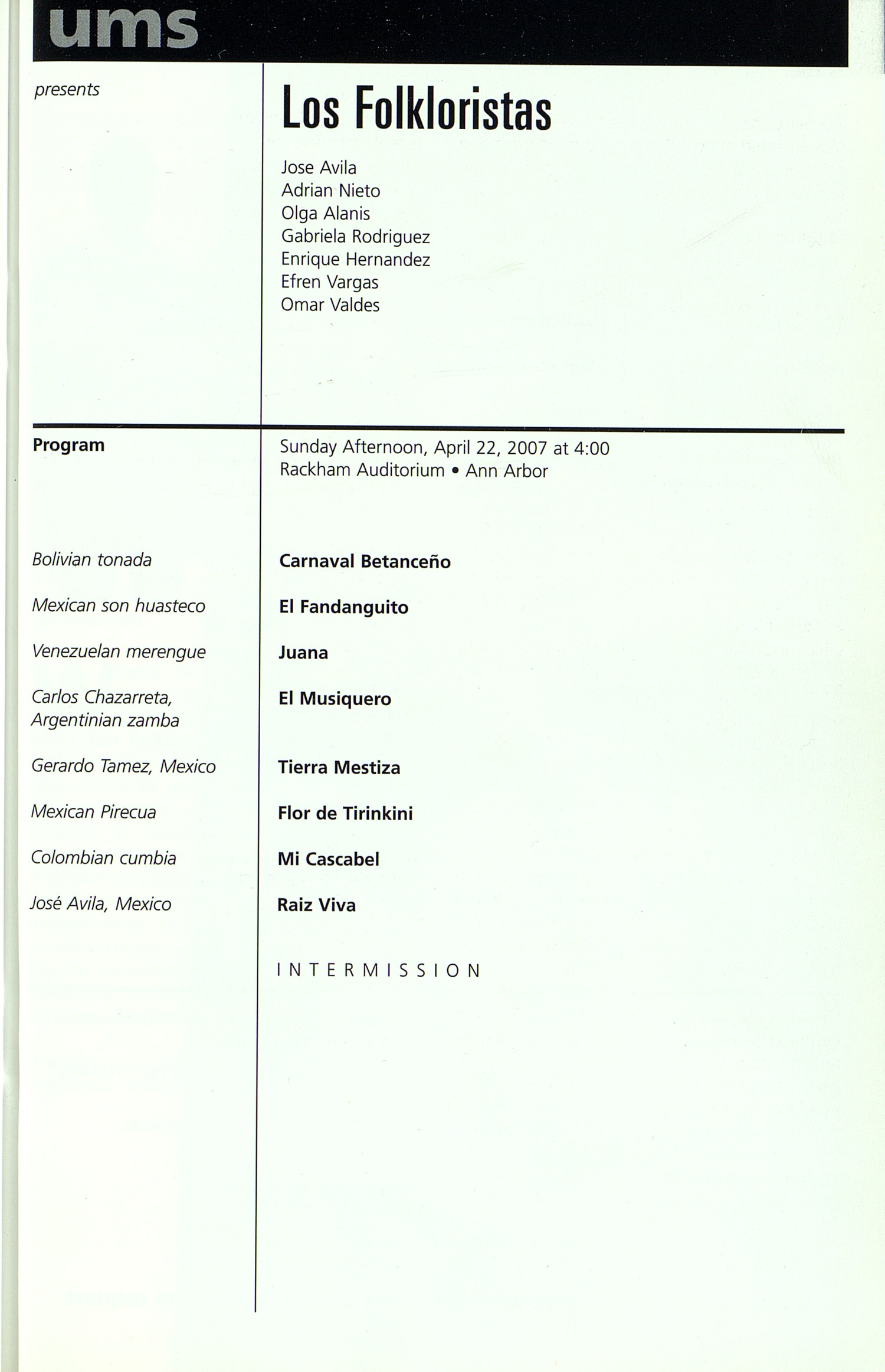 UMS Concert Program, Friday Apr. 13 To 22: University Musical Society: Winter 2007 - Friday Apr. 13 To 22 --  image