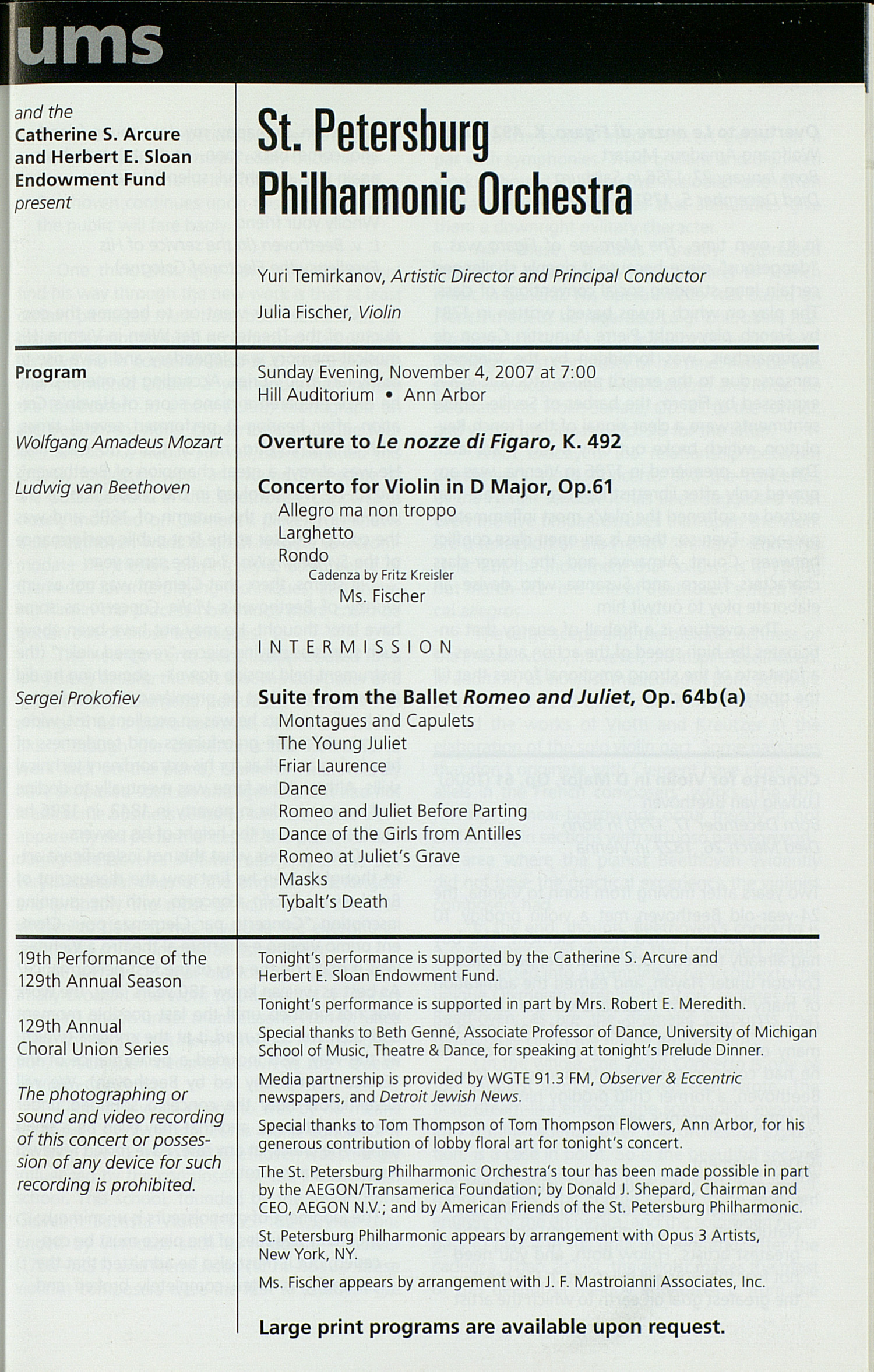UMS Concert Program, Wednesday Oct. 24 To Nov. 04: University Musical Society: Fall 2007 - Wednesday Oct. 24 To Nov. 04 --  image