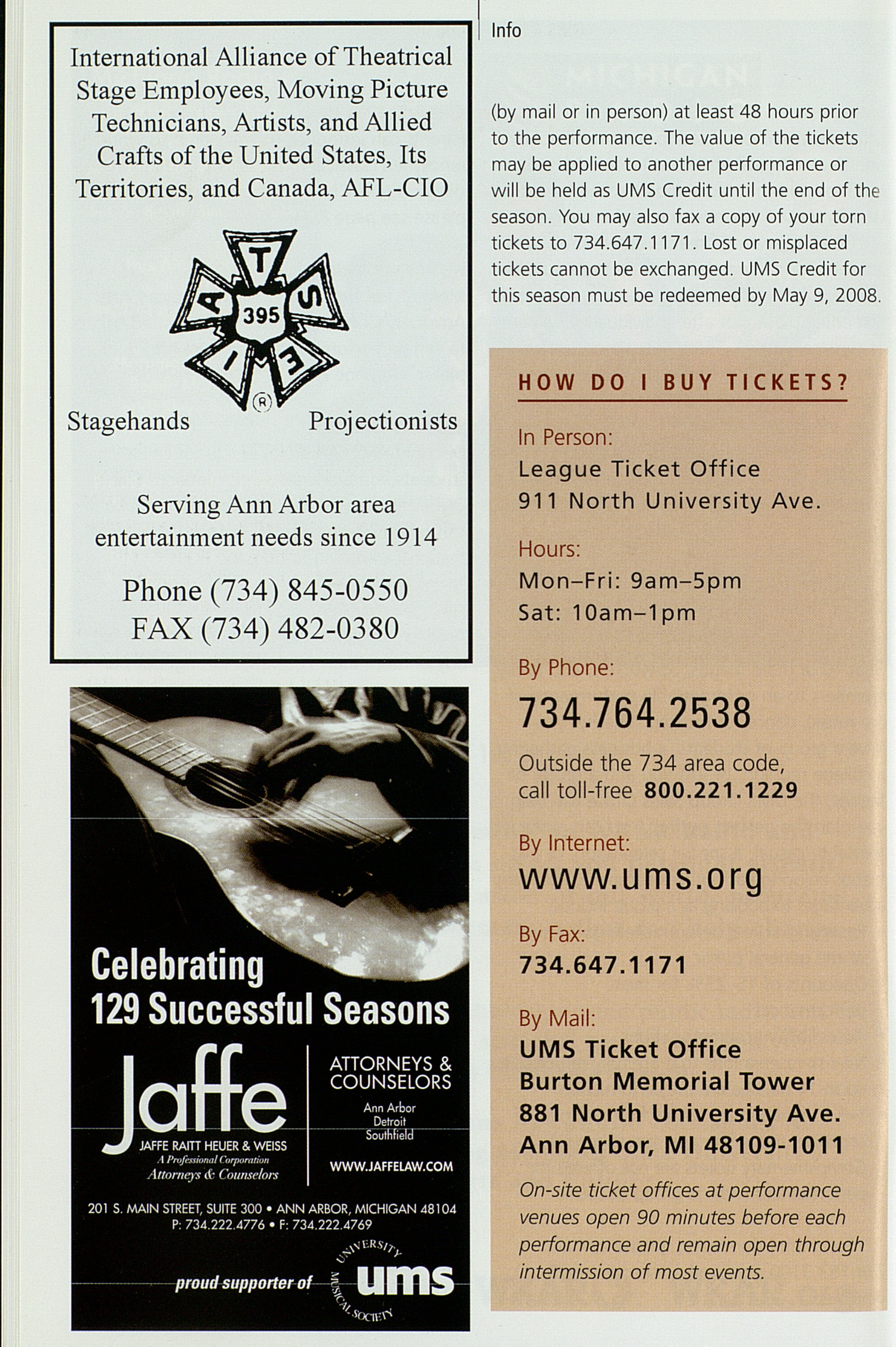 UMS Concert Program, Wednesday Jan. 16 To 27: University Musical Society: Winter 2008 - Wednesday Jan. 16 To 27 --  image