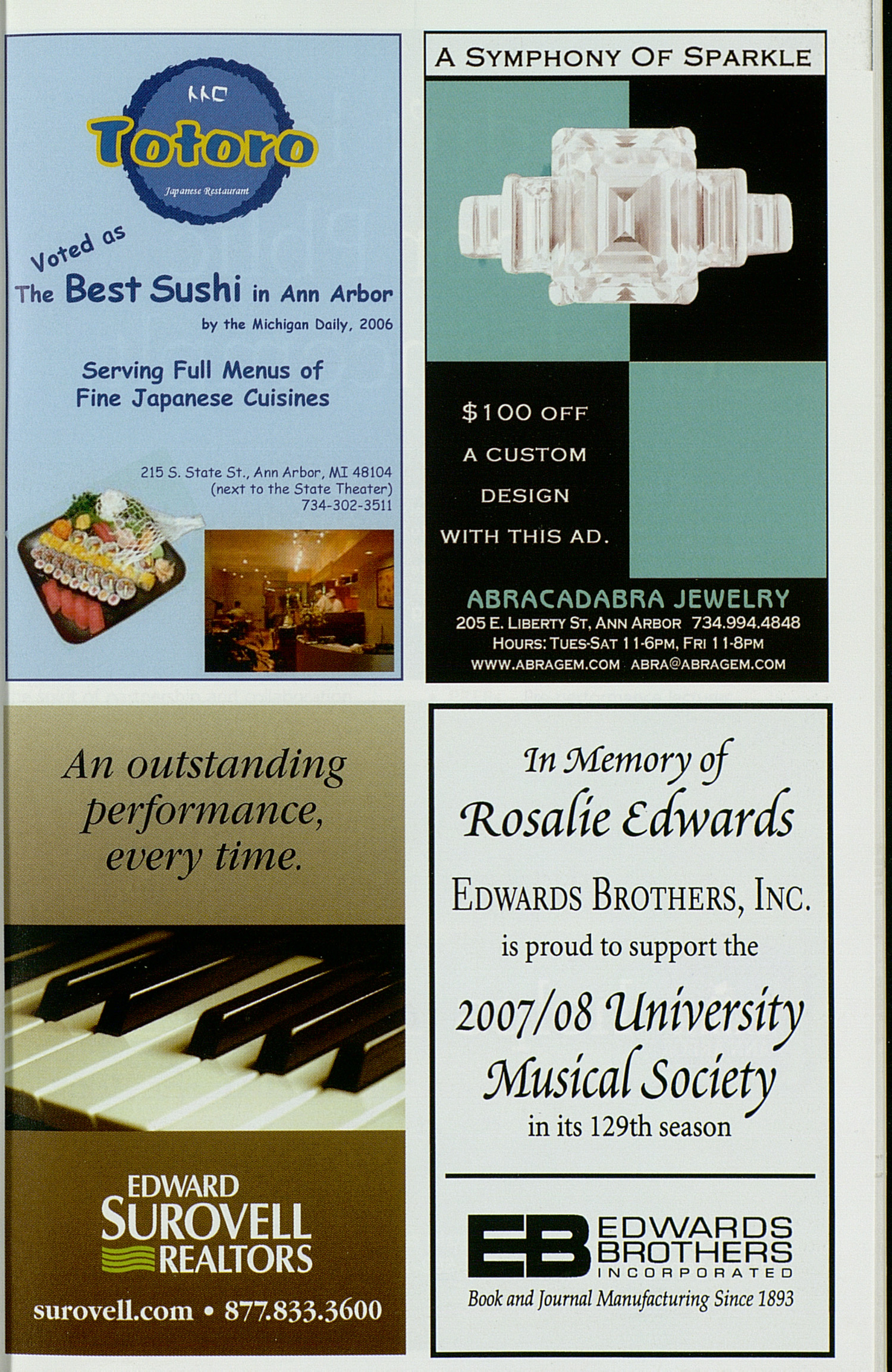UMS Concert Program, Thursday Apr. 10 To 22: University Musical Society: Winter 2008 - Thursday Apr. 10 To 22 --  image