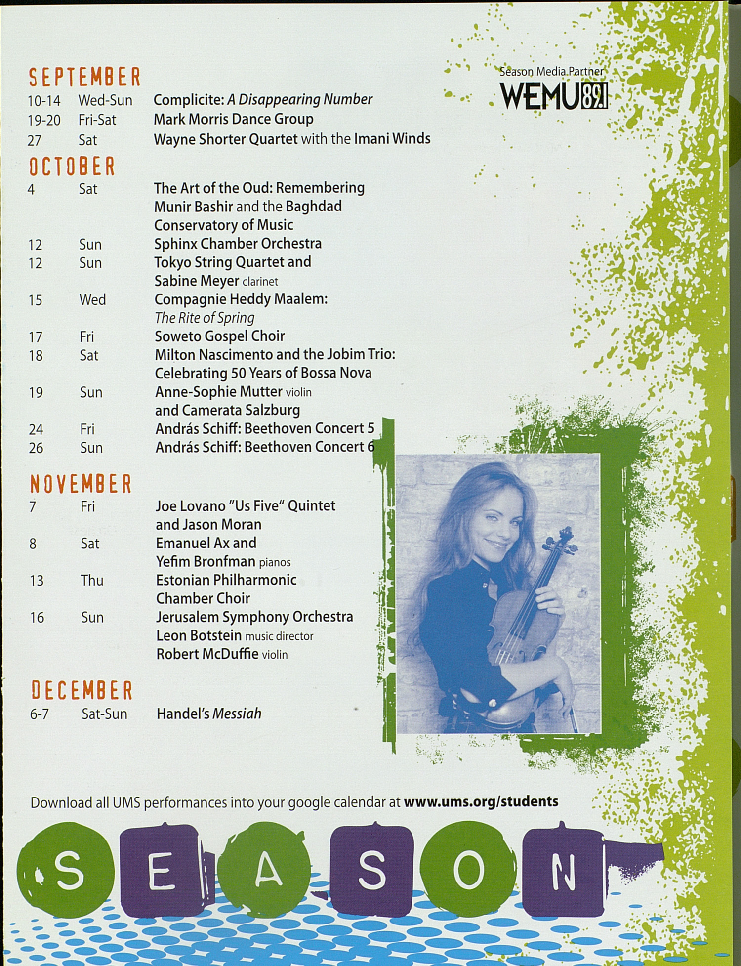 UMS Concert Program, : Extraordinary Performances Cheap Tickets For Students. --  image