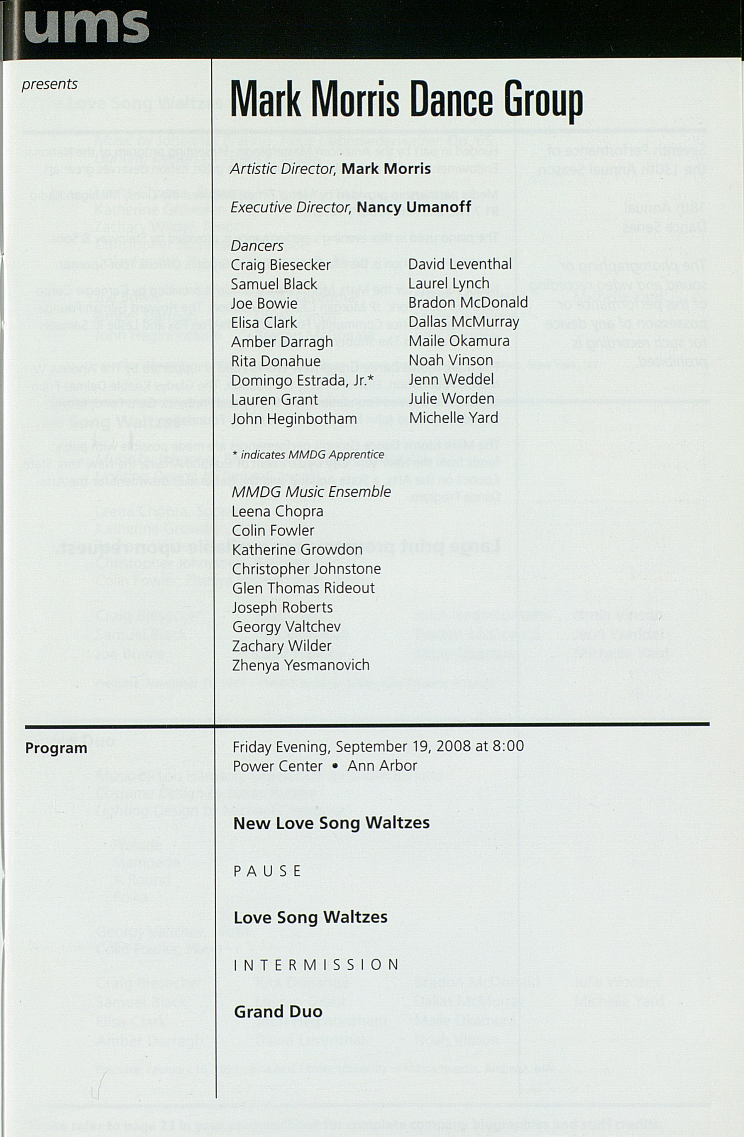 UMS Concert Program, Wednesday Sep. 10 To 27: University Musical Society: Fall 2008 - Wednesday Sep. 10 To 27 --  image