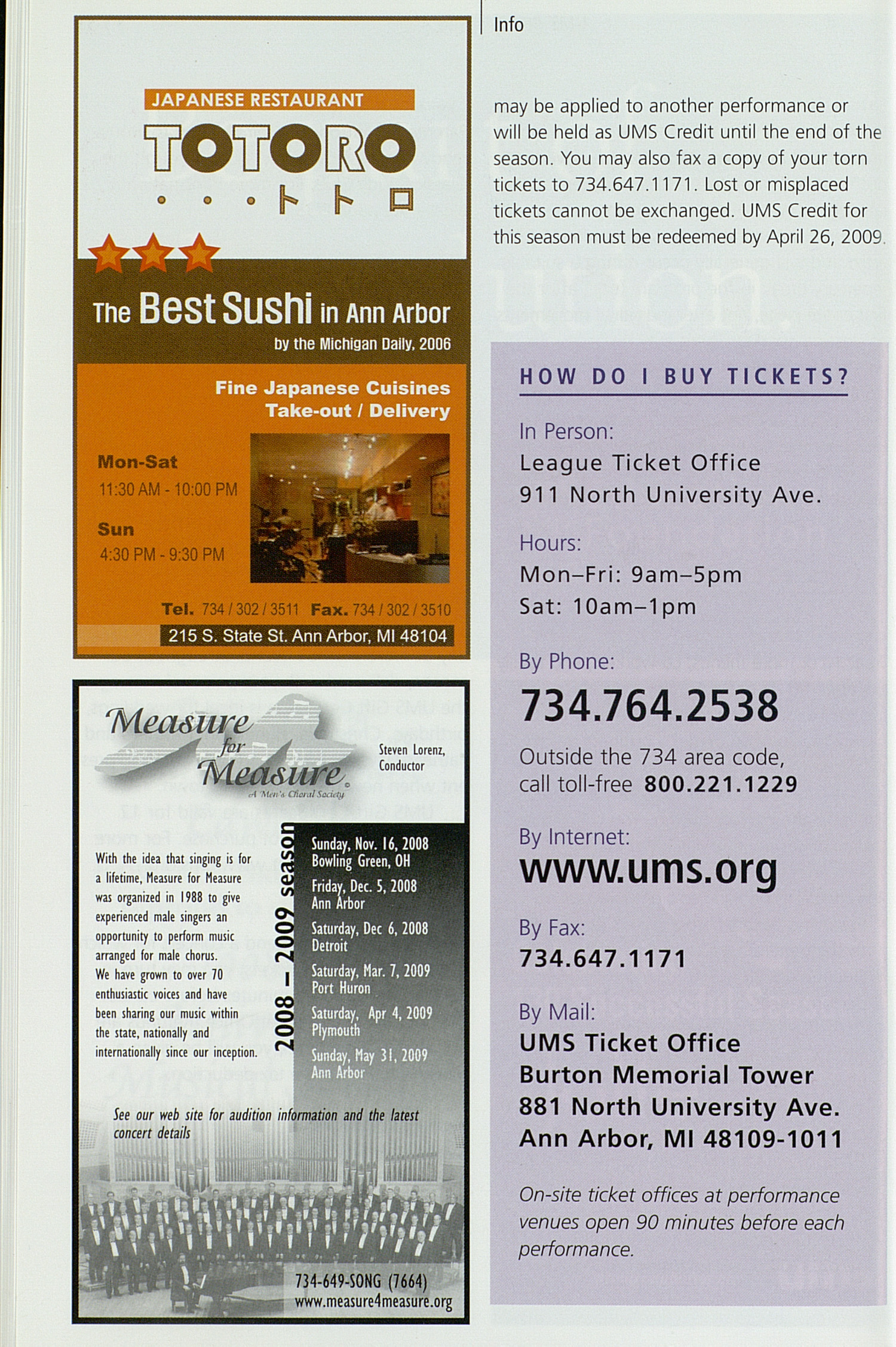 UMS Concert Program, Saturday Oct. 04 To 15: University Musical Society: Fall 2008 - Saturday Oct. 04 To 15 --  image