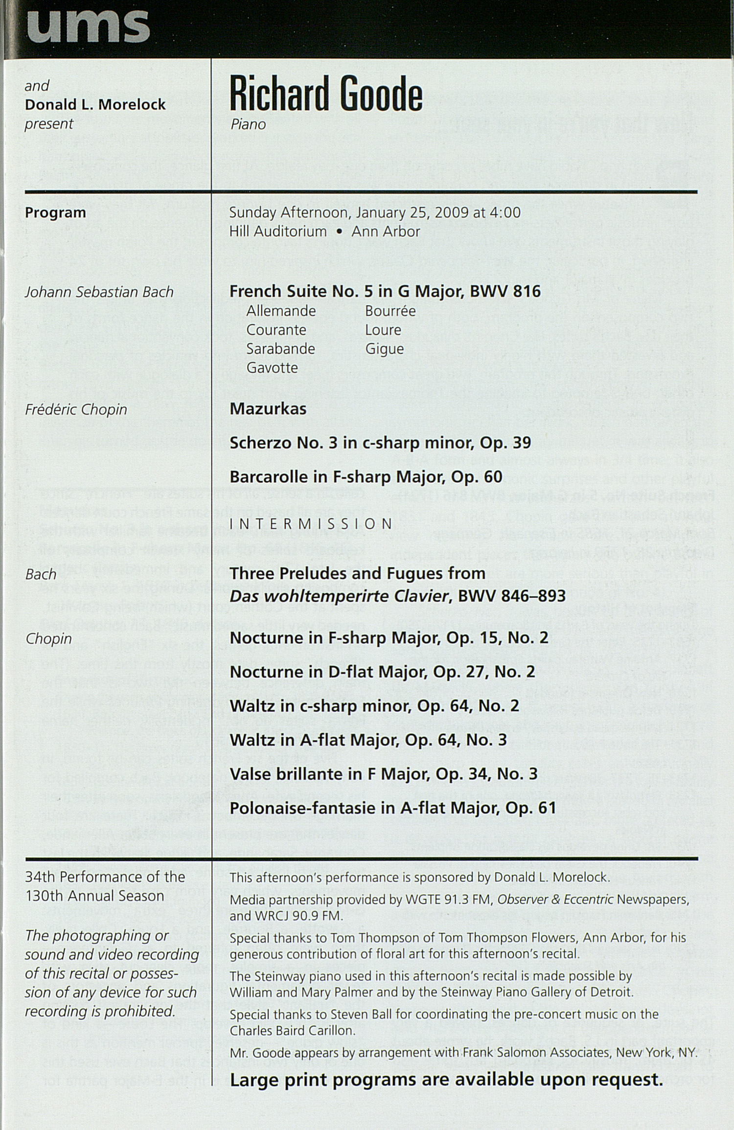 UMS Concert Program, Friday Jan. 23 To Feb. 07: University Musical Society: Winter 2009 - Friday Jan. 23 To Feb. 07 --  image