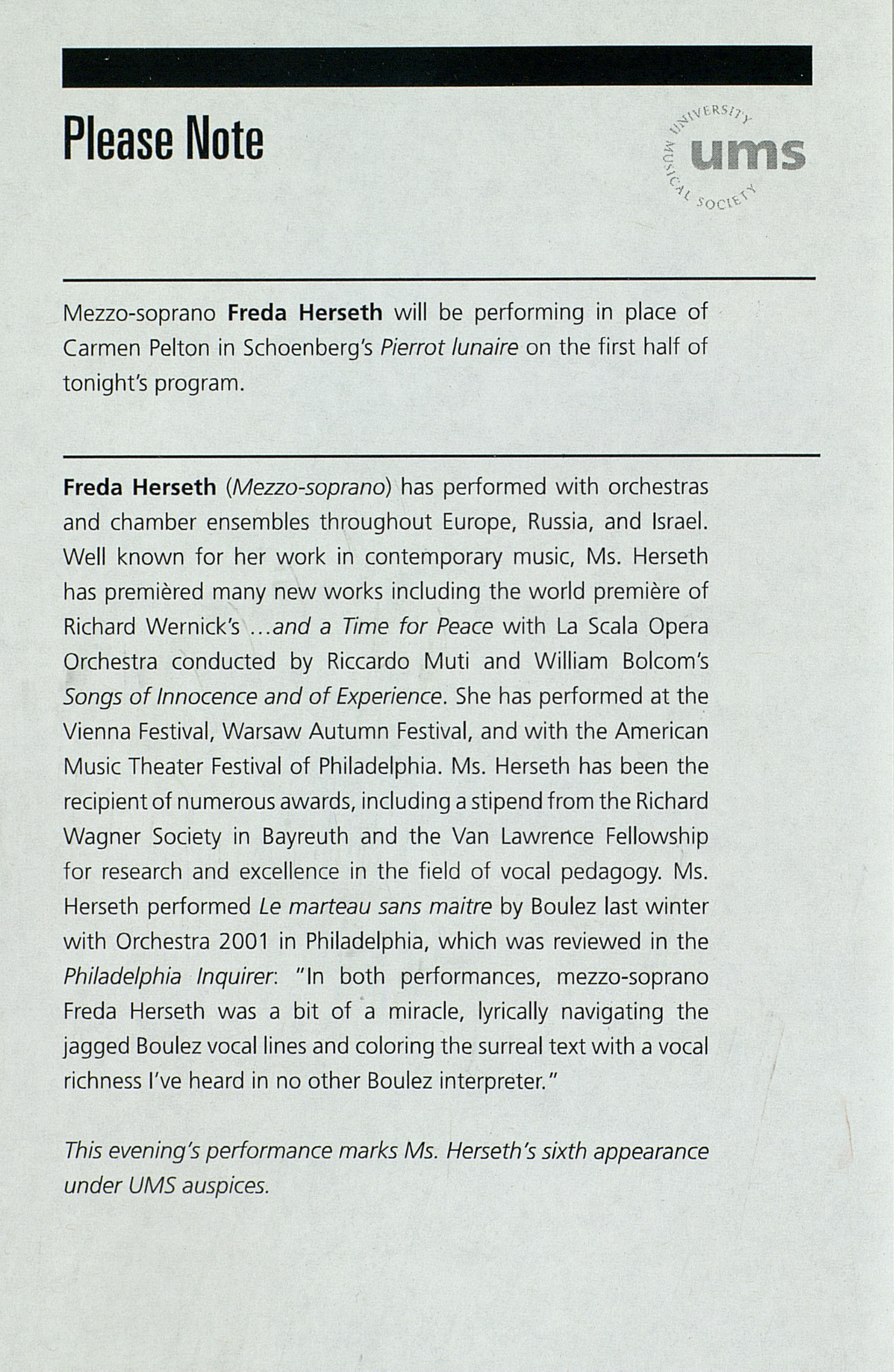 UMS Concert Program, : University Musical Society - 2008misc --  image