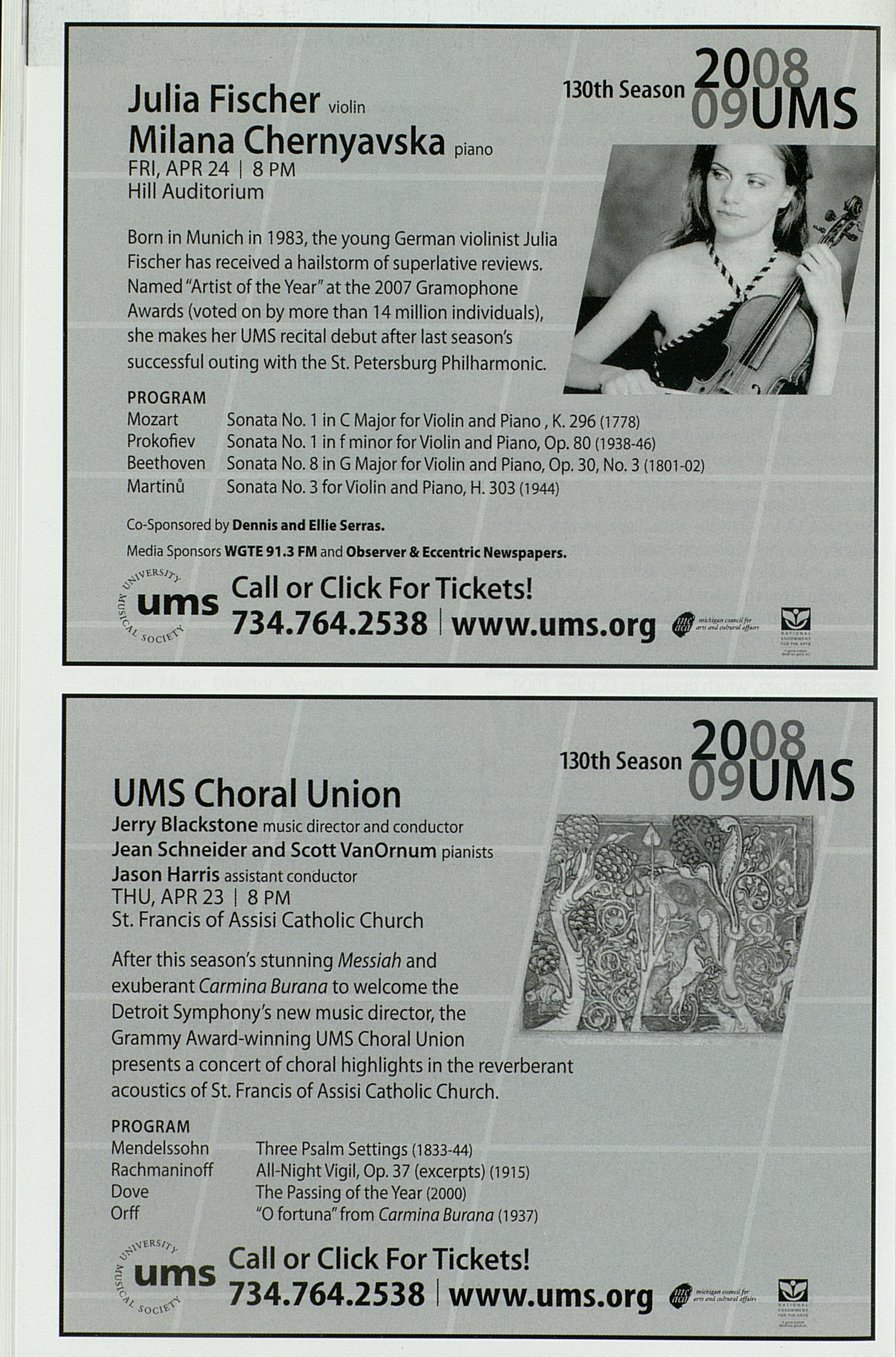 UMS Concert Program, Tuesday Mar. 10 To 14: University Musical Society: Winter 2009 - Tuesday Mar. 10 To 14 --  image
