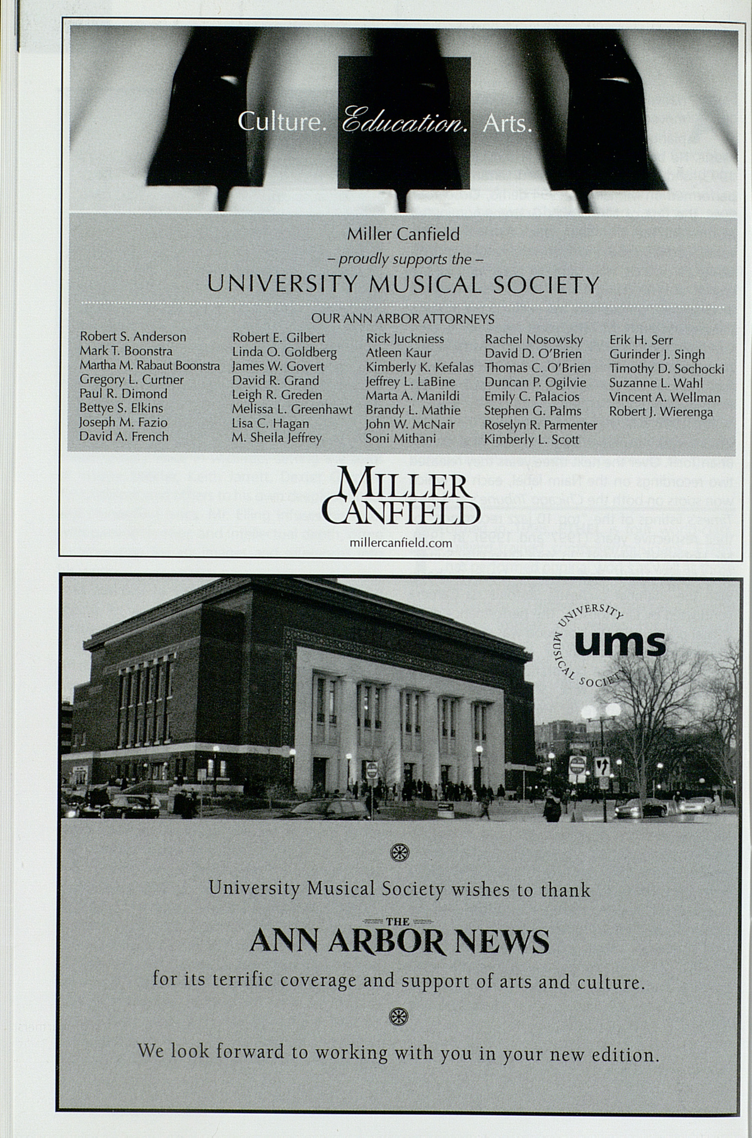 UMS Concert Program, Thursday Apr. 16 To 26: University Musical Society: Winter 2009 - Thursday Apr. 16 To 26 --  image