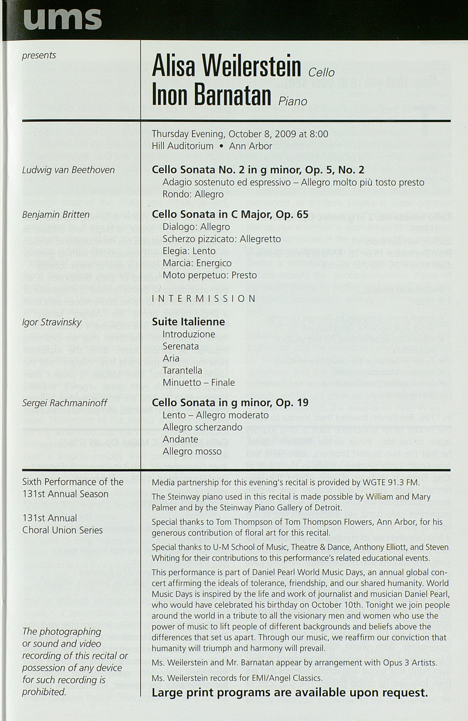 UMS Concert Program, Sunday Sep. 13 To Oct. 08: University Musical Society: Fall 2009 - Sunday Sep. 13 To Oct. 08 --  image