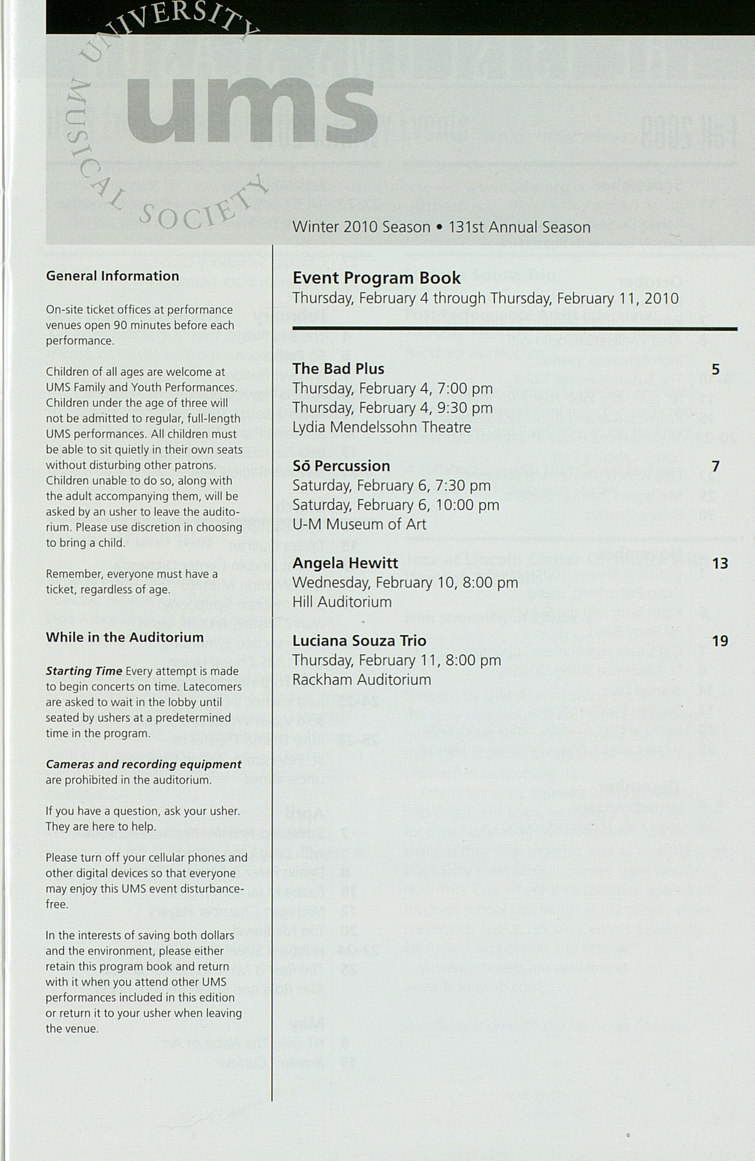 UMS Concert Program, Thursday Feb. 04 To 11: University Musical Society: Winter 2010 - Thursday Feb. 04 To 11 --  image