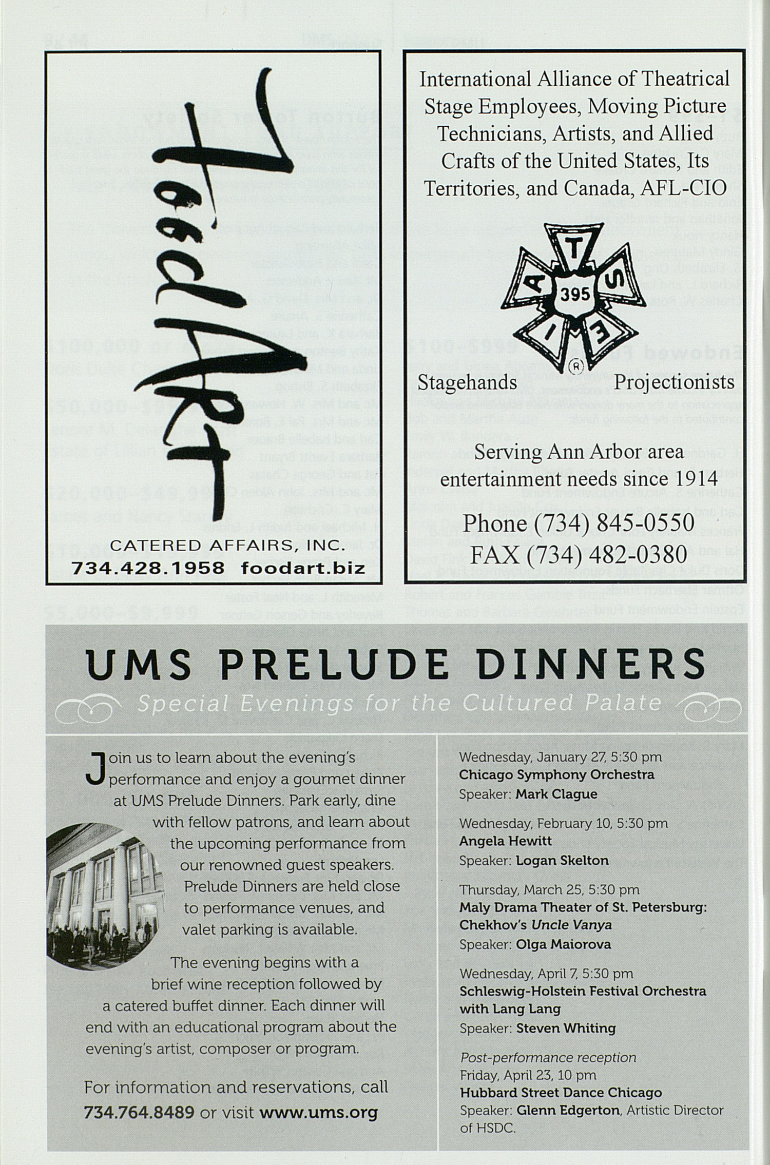 UMS Concert Program, Saturday Apr. 10 To 25: University Musical Society: Winter 2010 - Saturday Apr. 10 To 25 --  image
