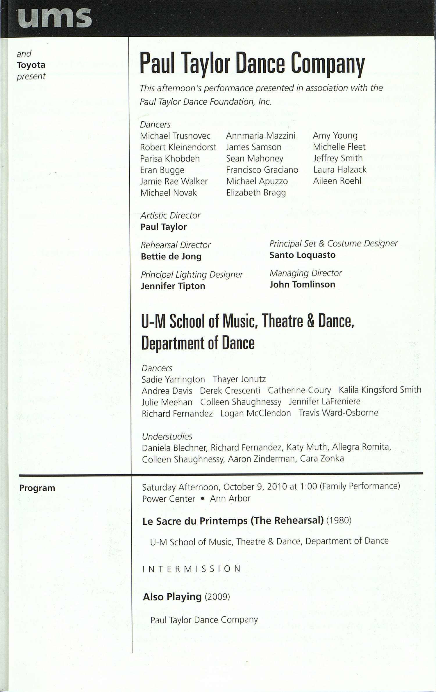 UMS Concert Program, Saturday Sep. 25 To Oct. 09: Ums 10 11 - Fall 2010 - Saturday Sep. 25 To Oct. 09 --  image