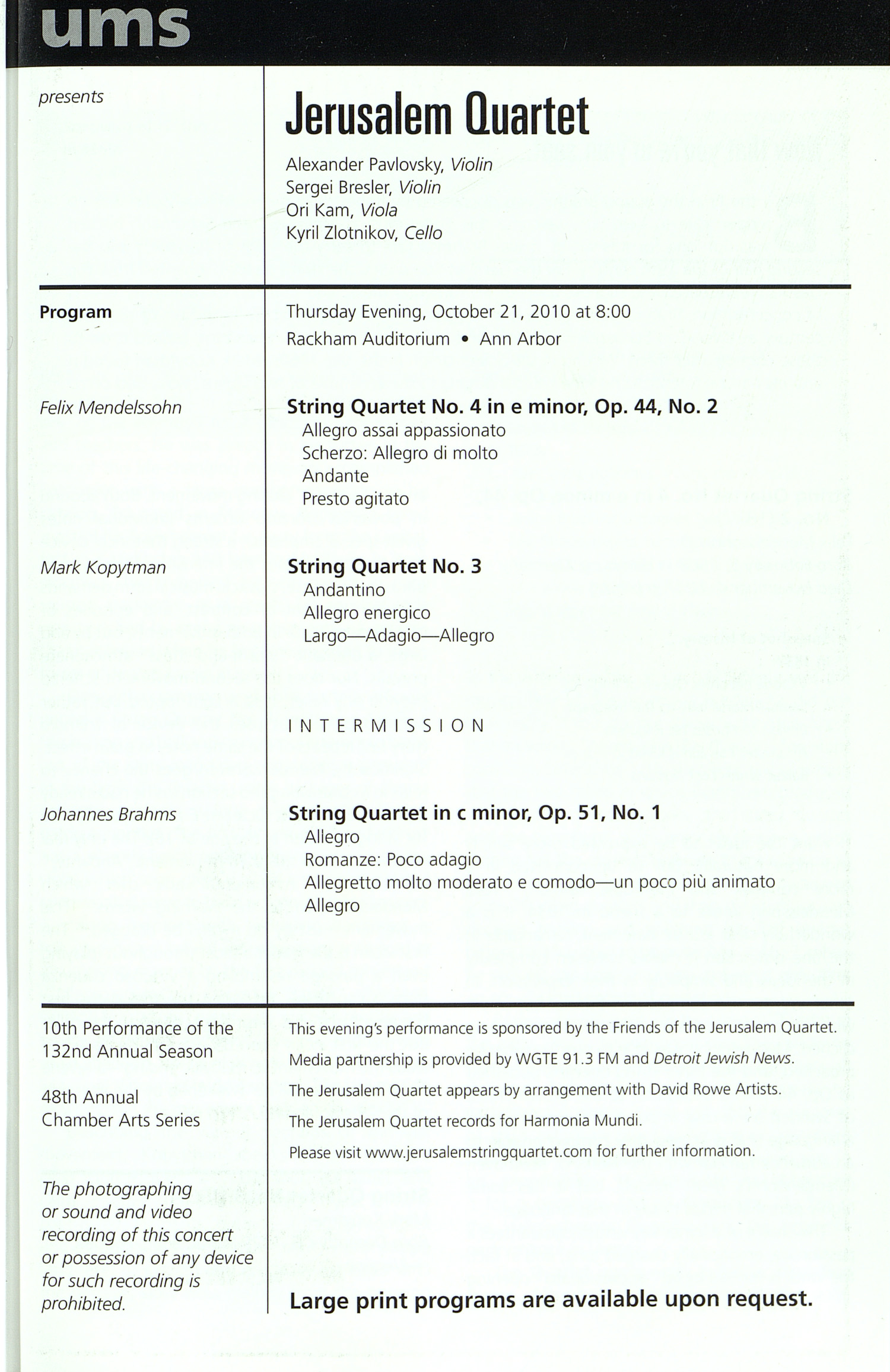 UMS Concert Program, Sunday Oct. 10 To 24: University Musical Society: Fall 2010 - Sunday Oct. 10 To 24 --  image