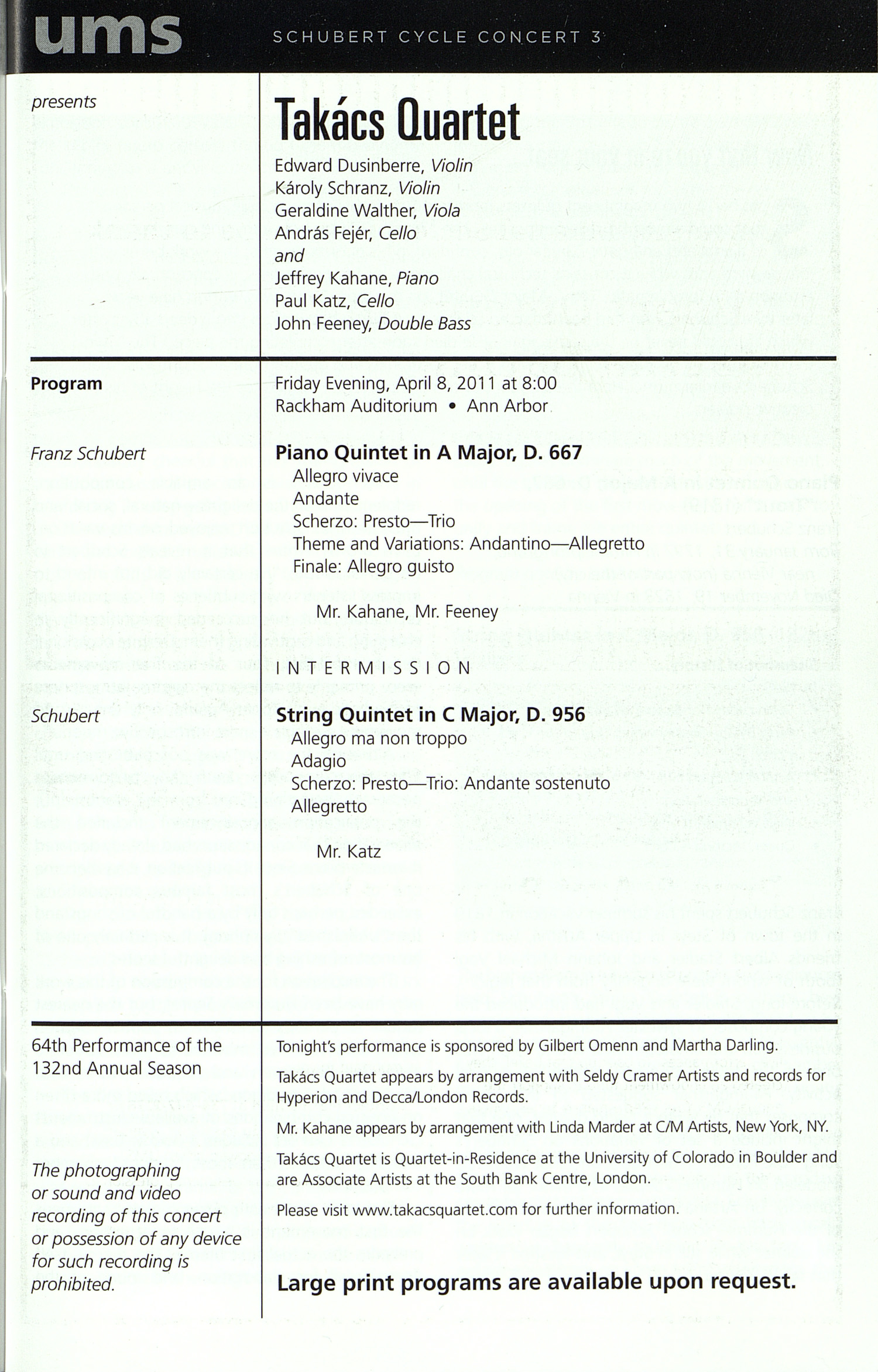 UMS Concert Program, Thursday Apr. 07 To 23: University Musical Society: Winter Spring 2011 - Thursday Apr. 07 To 23 --  image